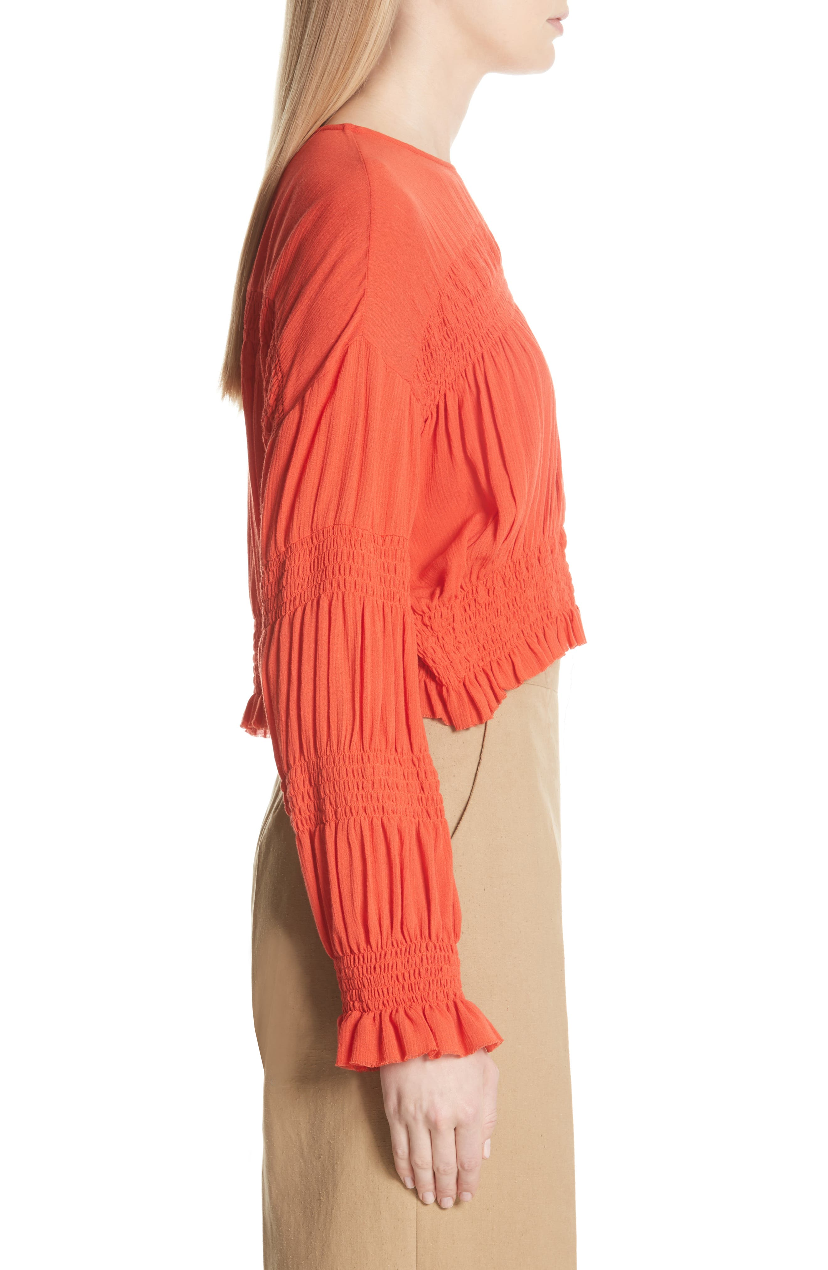 Penta Smocked Blouse,                             Alternate thumbnail 3, color,                             CORAL