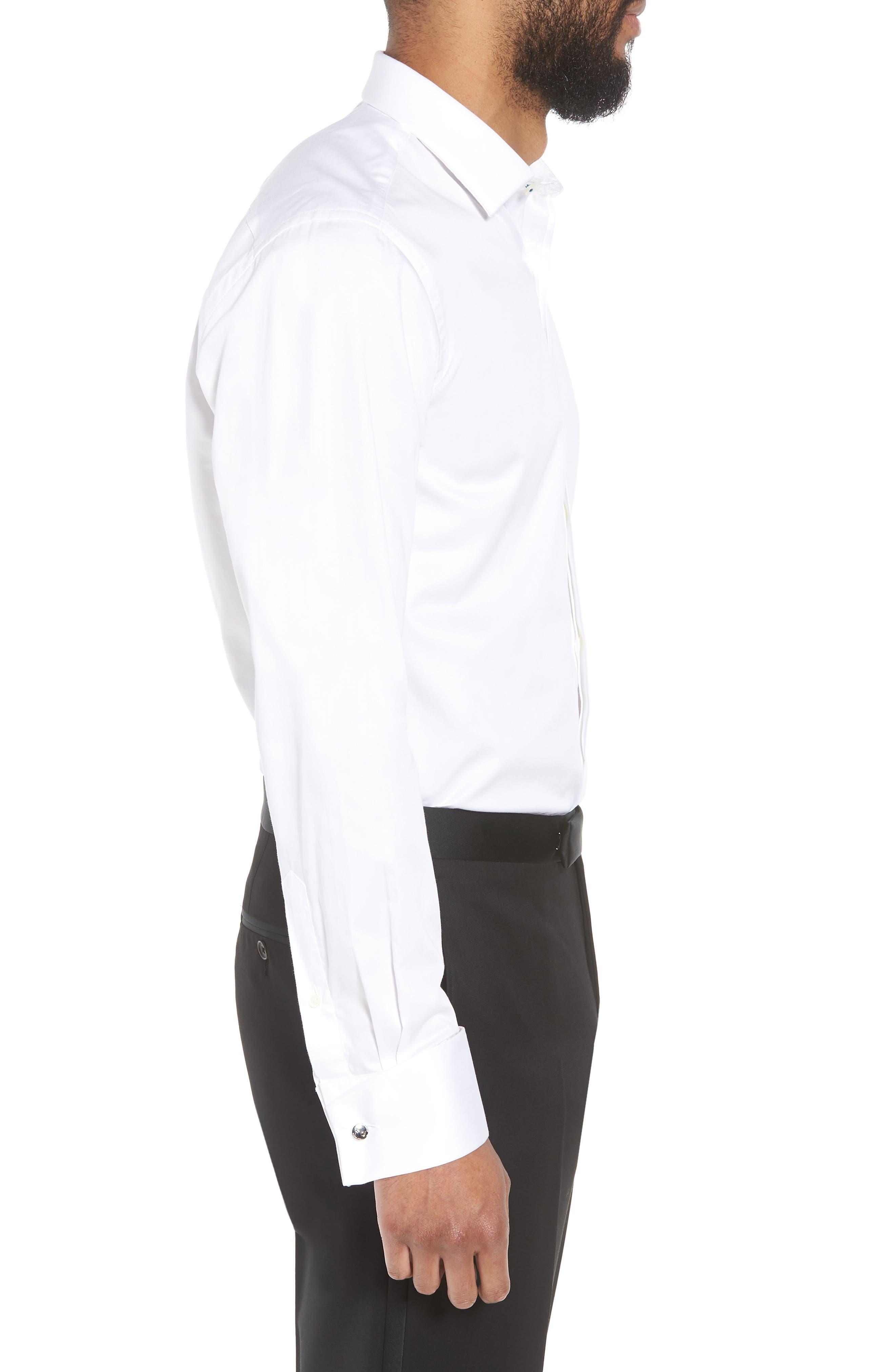 Fedra Trim Fit Tuxedo Shirt,                             Alternate thumbnail 4, color,                             WHITE