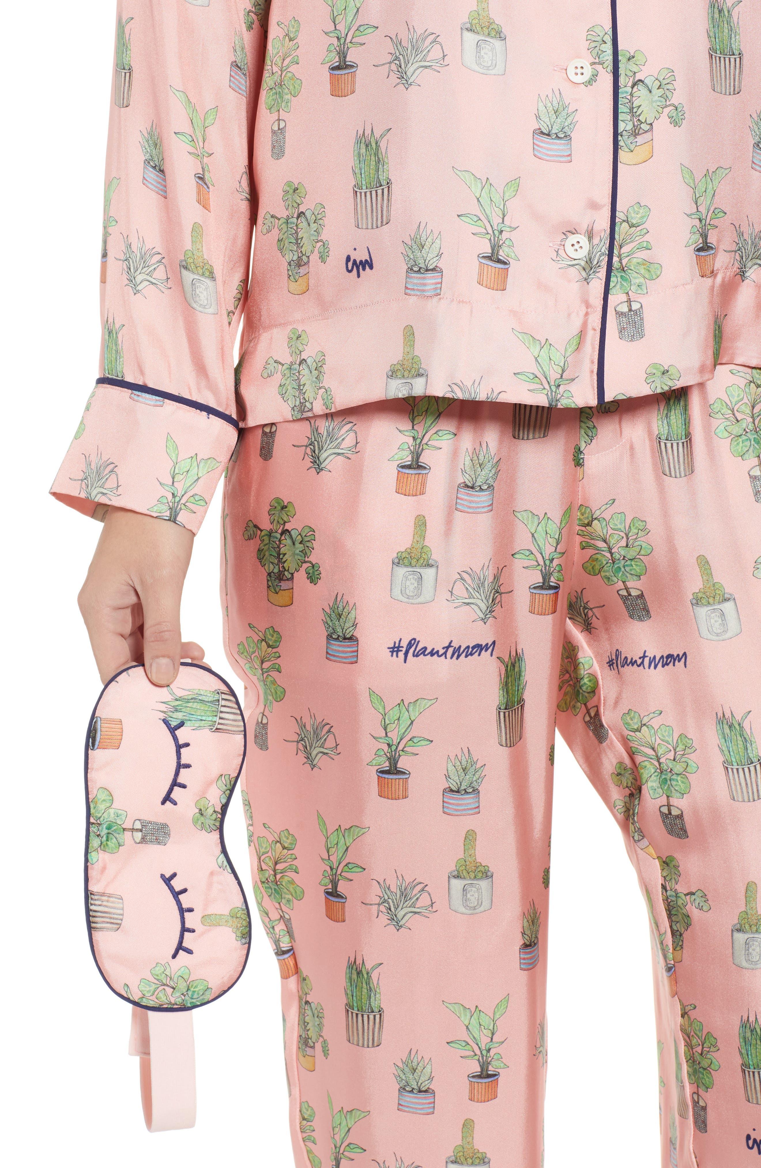 Plant Mom Silk Blend Pajamas & Eye Mask,                             Alternate thumbnail 4, color,                             650