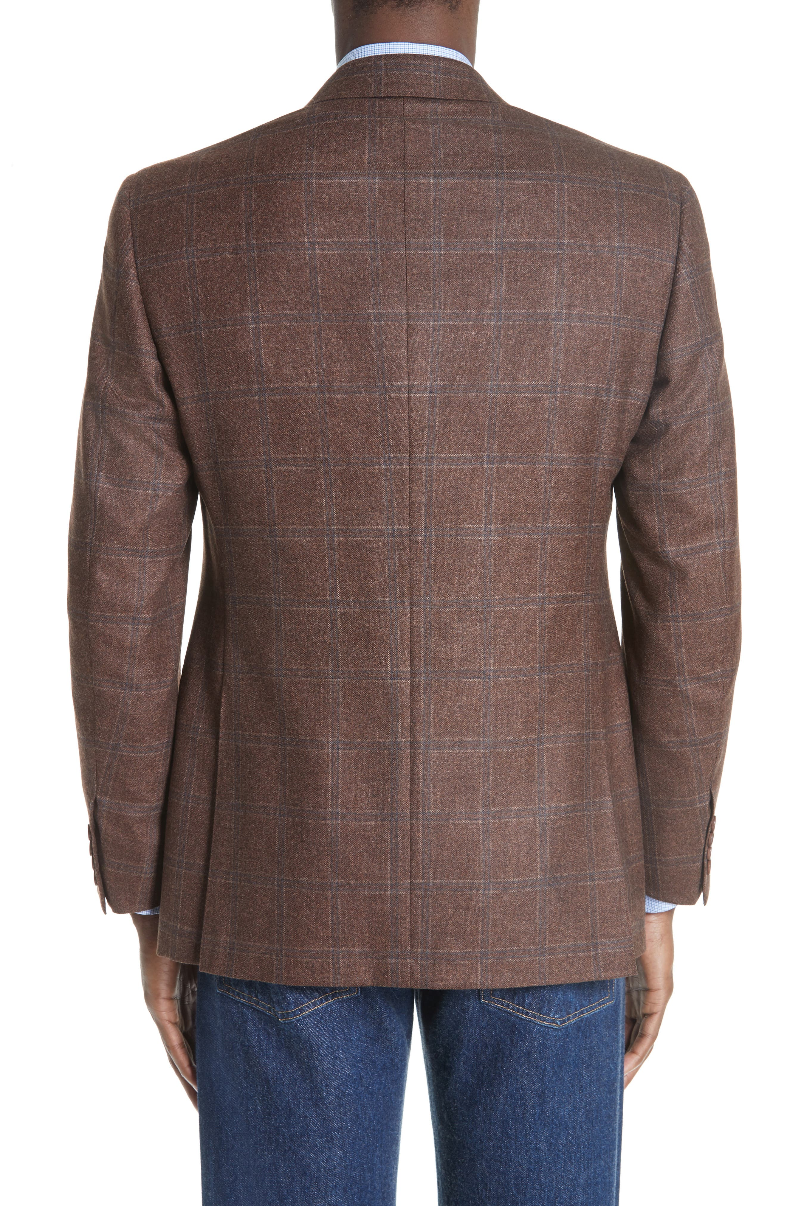 Classic Fit Windowpane Wool Sport Coat,                             Alternate thumbnail 2, color,                             MED BROWN