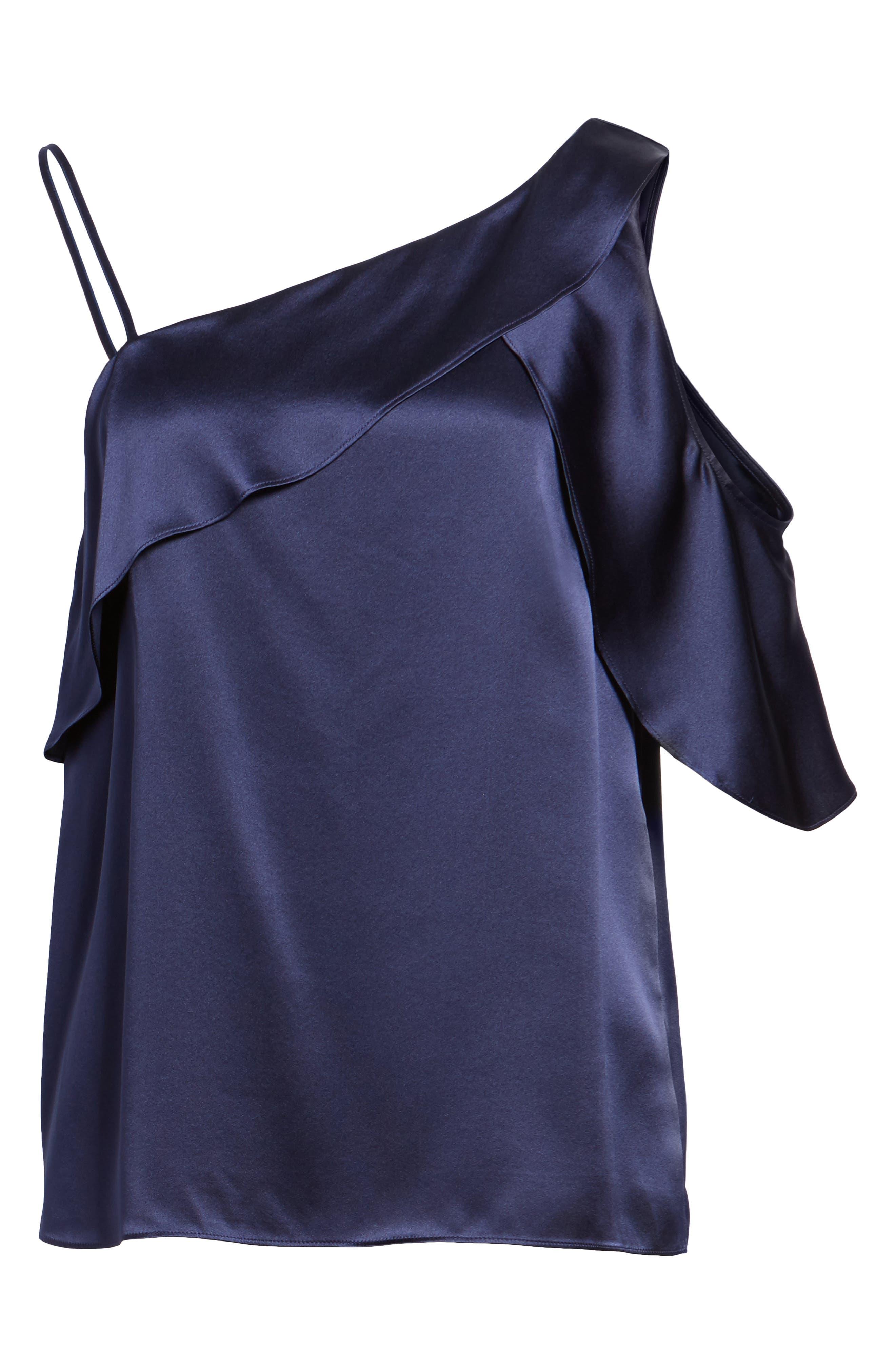 Connie Cold Shoulder Silk Top,                             Alternate thumbnail 6, color,                             418