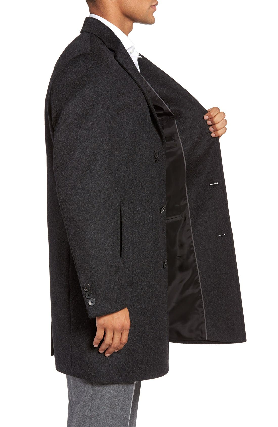 BOSS The Stratus Wool & Cashmere Overcoat,                             Alternate thumbnail 3, color,                             010