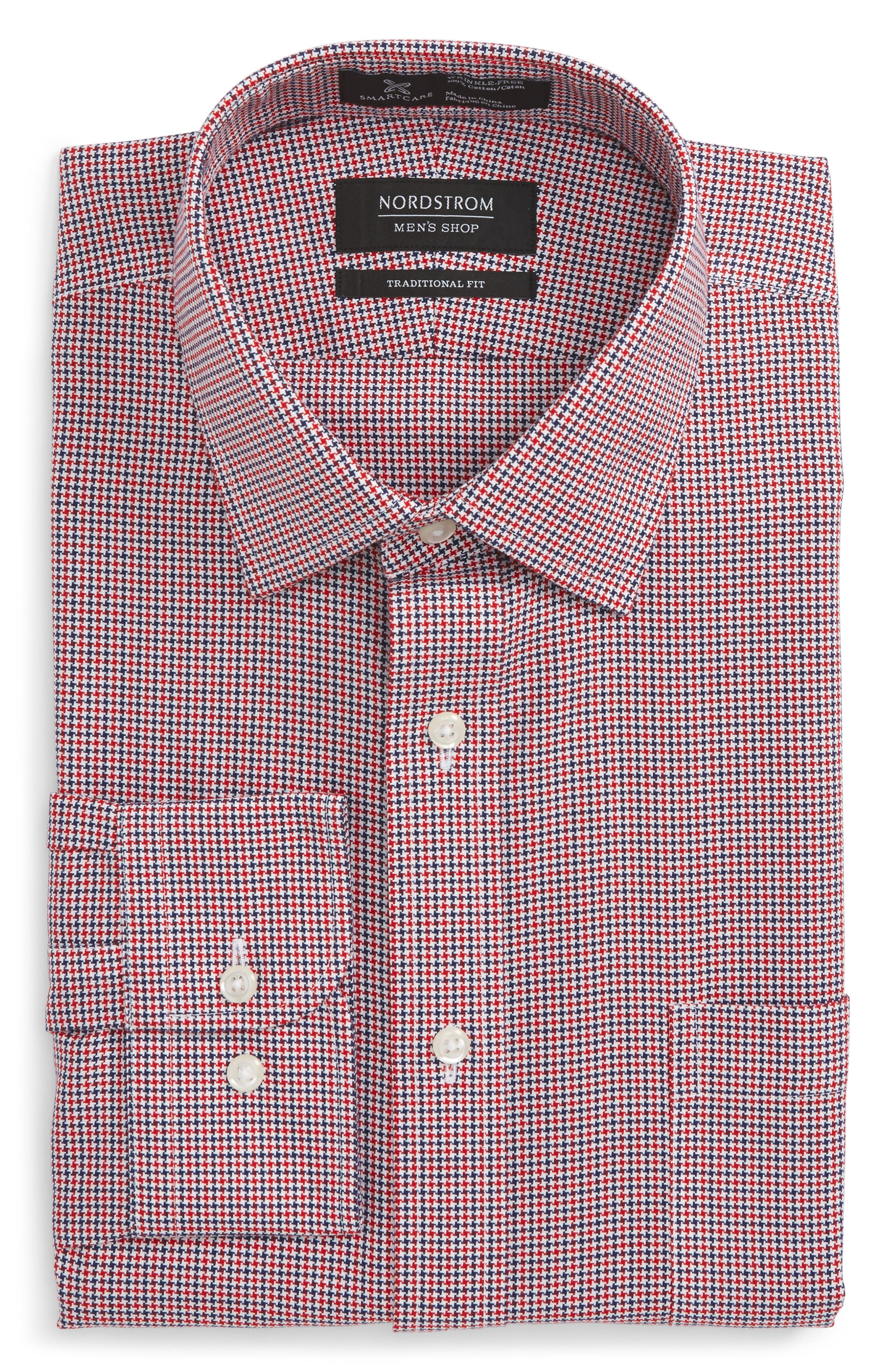 Smartcare<sup>™</sup> Traditional Fit Houndstooth Dress Shirt,                             Alternate thumbnail 10, color,