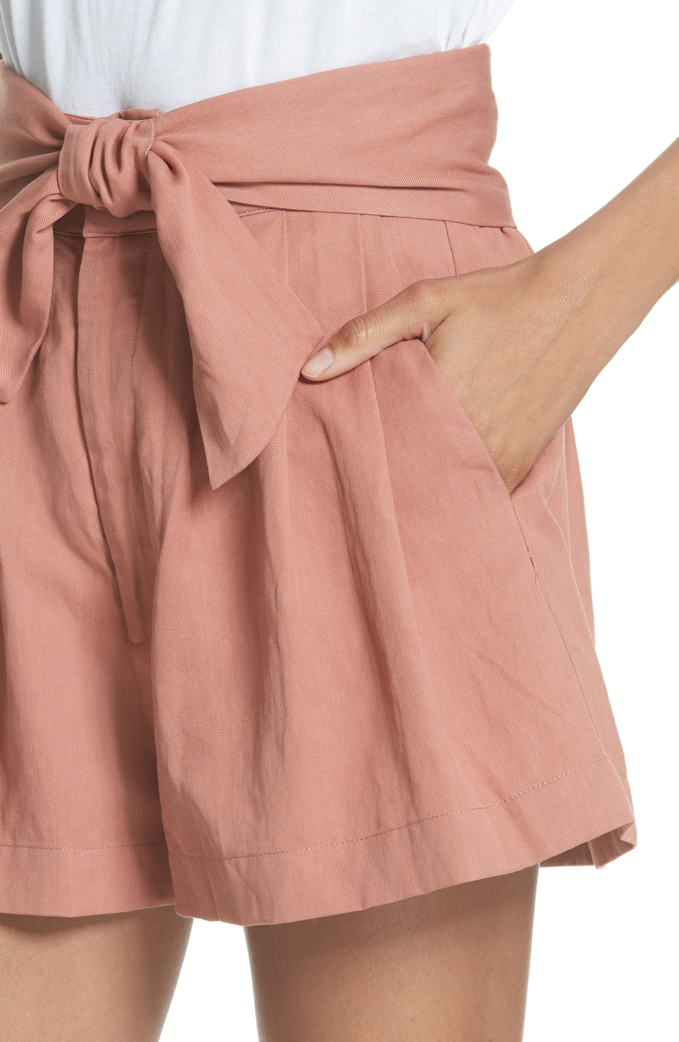 Martim Tie Waist Twill Shorts,                             Alternate thumbnail 4, color,                             CLAY