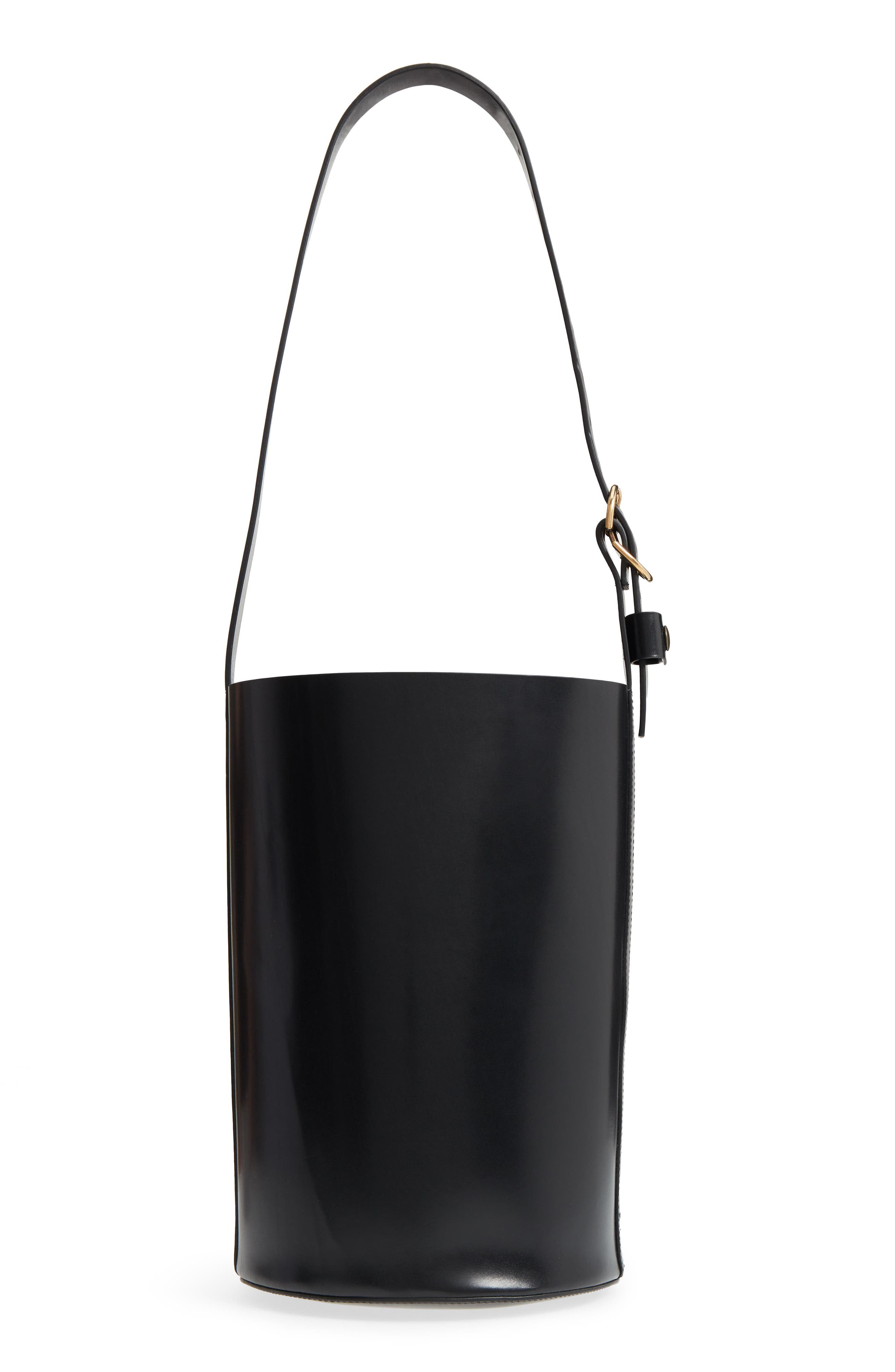 Leather Bucket Bag,                             Alternate thumbnail 3, color,                             BLACK