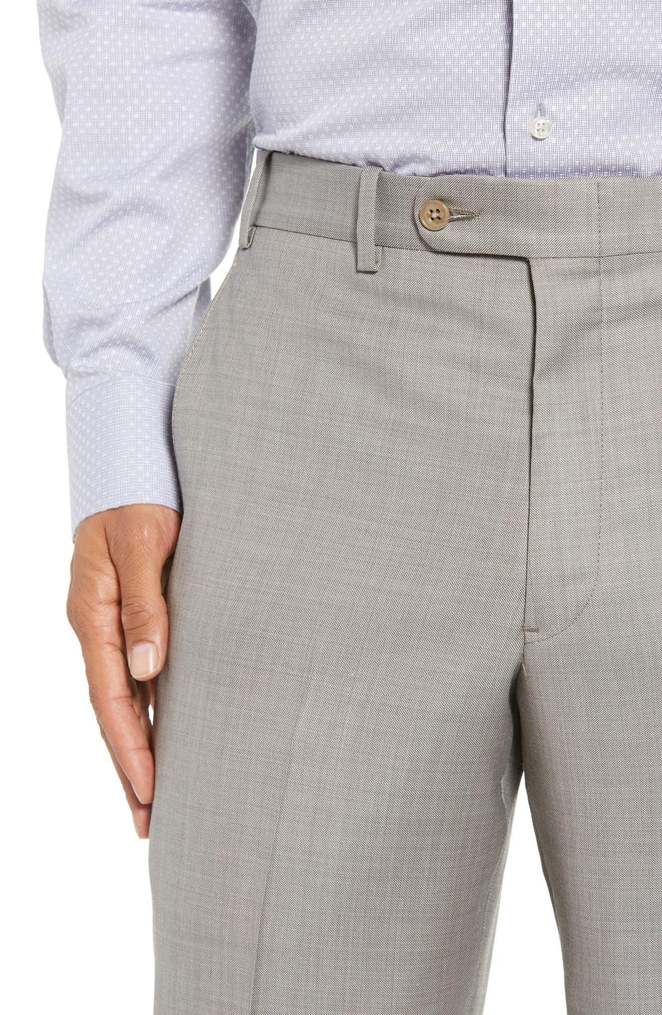 Torino Flat Front Solid Wool Trousers,                             Alternate thumbnail 12, color,