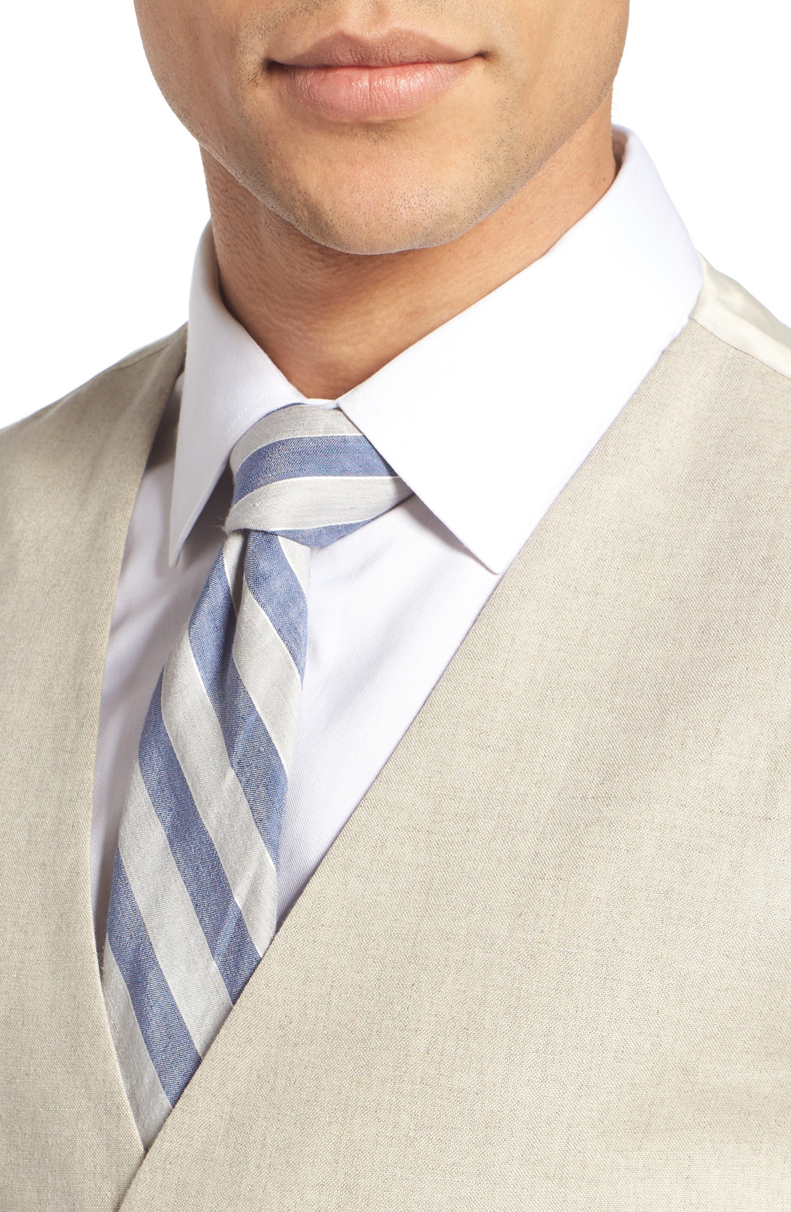 Trim Fit Solid Linen Vest,                             Alternate thumbnail 4, color,