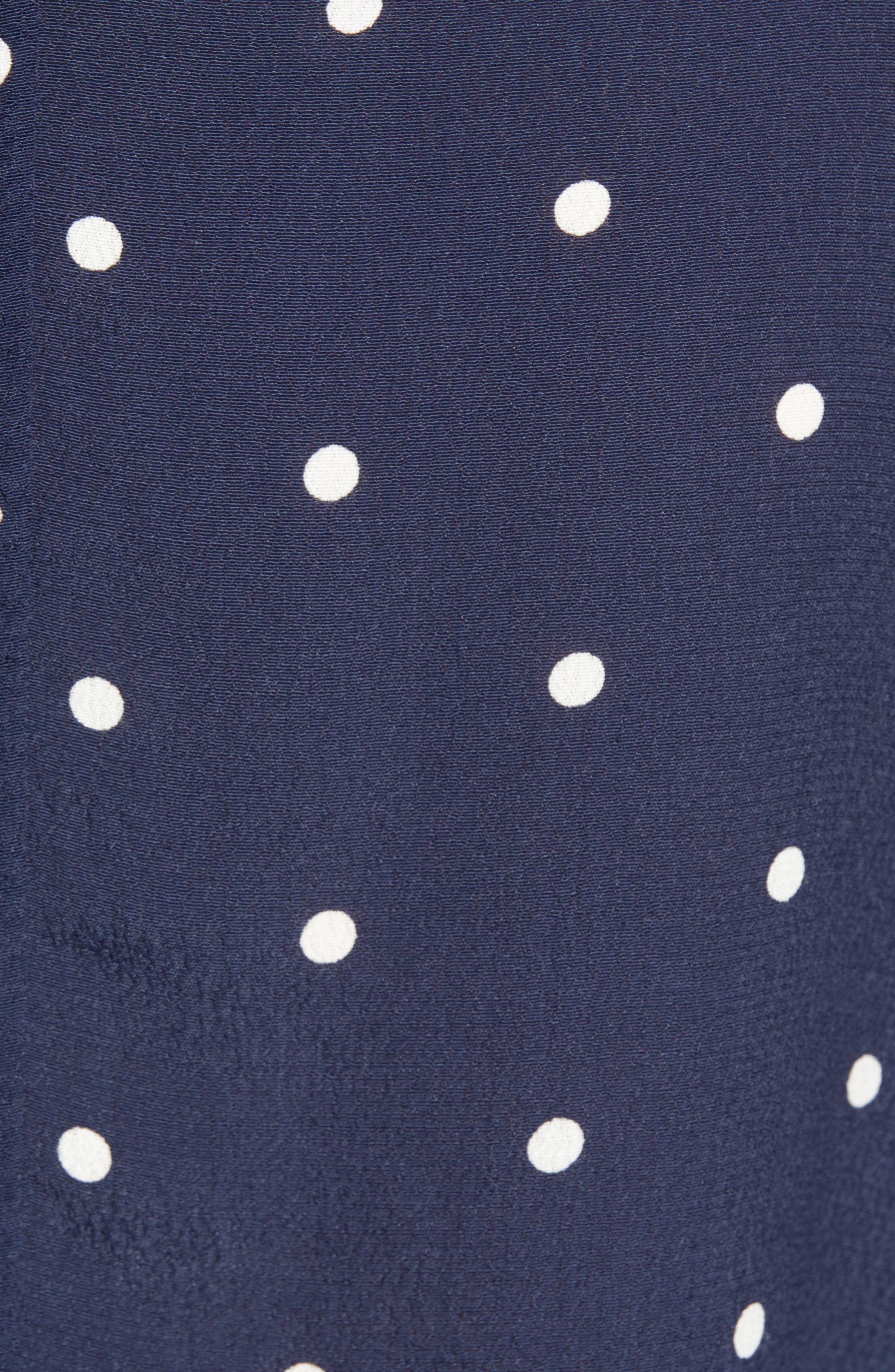 Sloane Tie Front Top,                             Alternate thumbnail 5, color,                             NAVY POLKA DOTS