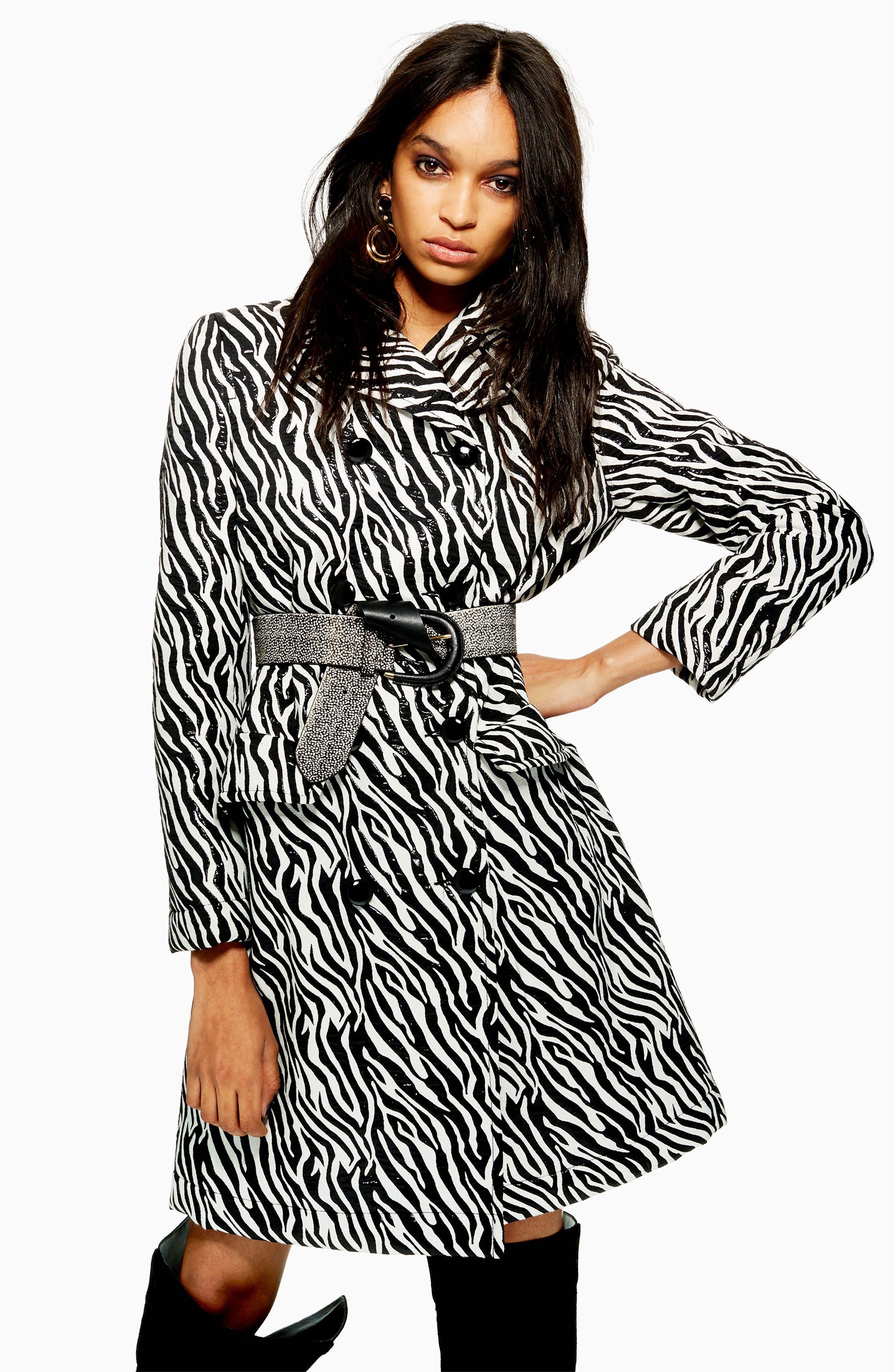 Zebra Print Coat,                             Alternate thumbnail 6, color,                             BLACK MULTI