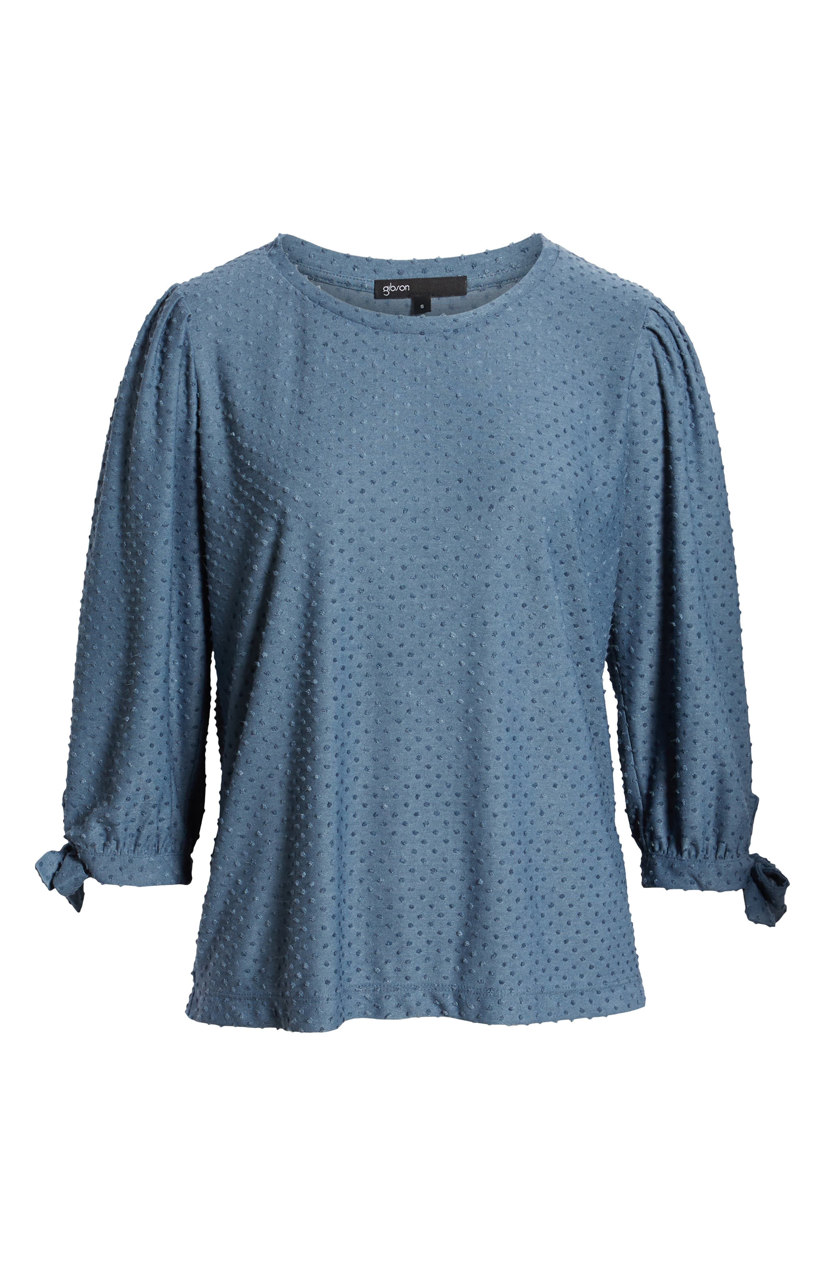 GIBSON,                             x International Women's Day Ruthie Clip Dot Tie Sleeve Blouse,                             Alternate thumbnail 6, color,                             DENIM