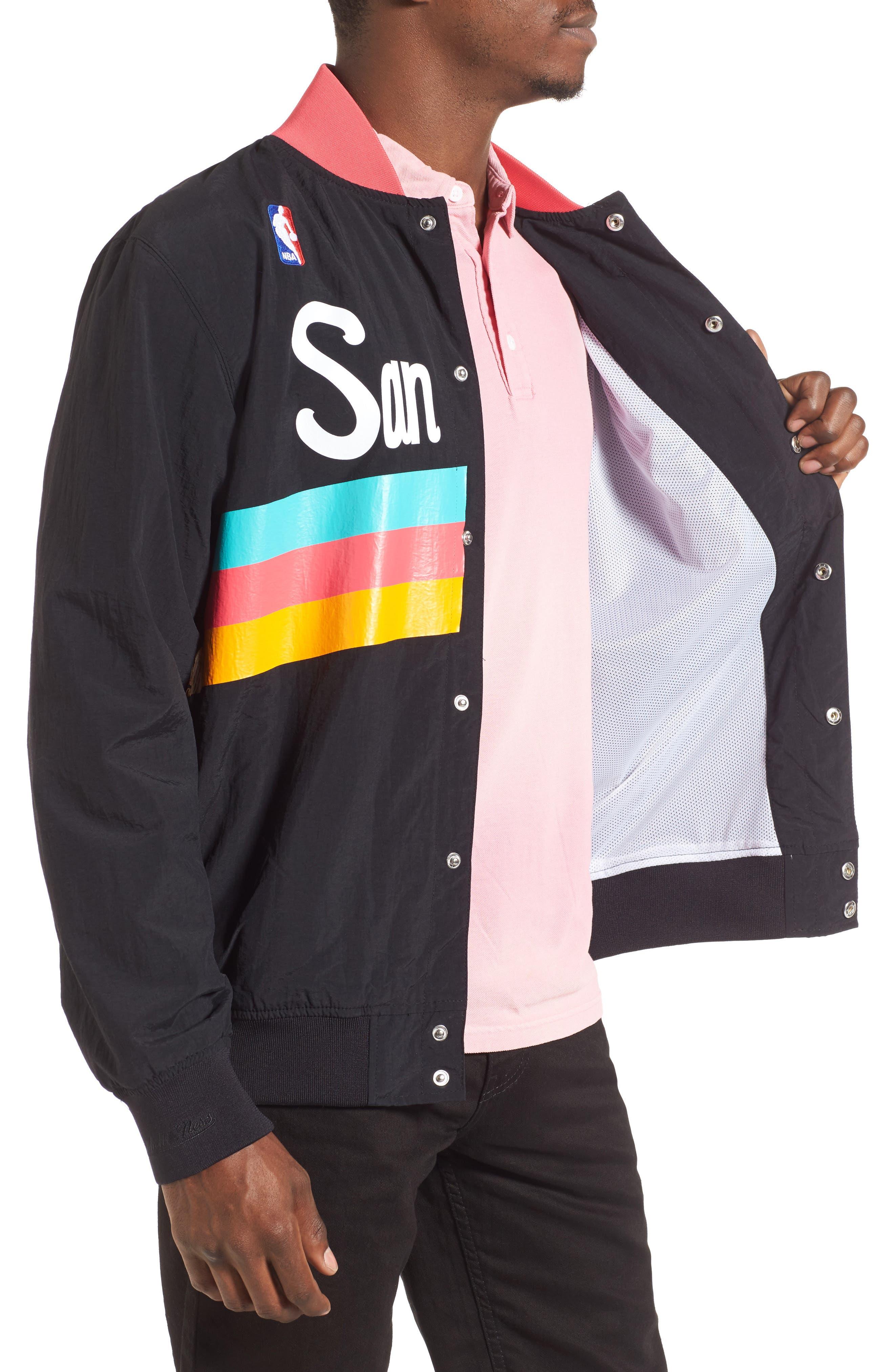 MITCHELL & NESS,                             'San Antonio Spurs' Warm-Up Jacket,                             Alternate thumbnail 4, color,                             001