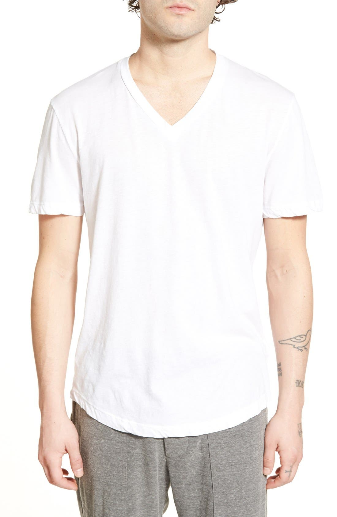 'Clear Jersey' Mélange V-Neck T-Shirt,                             Main thumbnail 5, color,