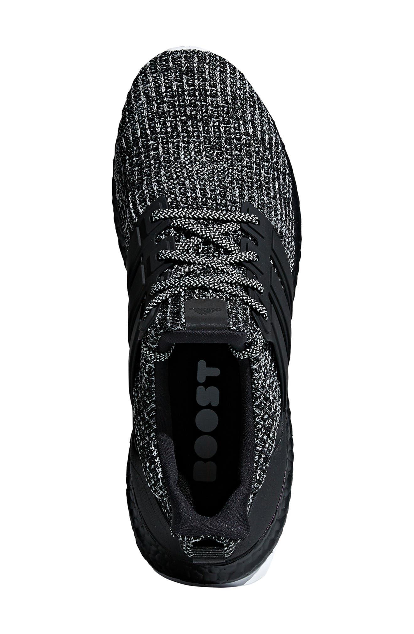 'UltraBoost' Running Shoe,                             Alternate thumbnail 4, color,                             CLOUD WHITE/ BLACK/ SHOCK PINK