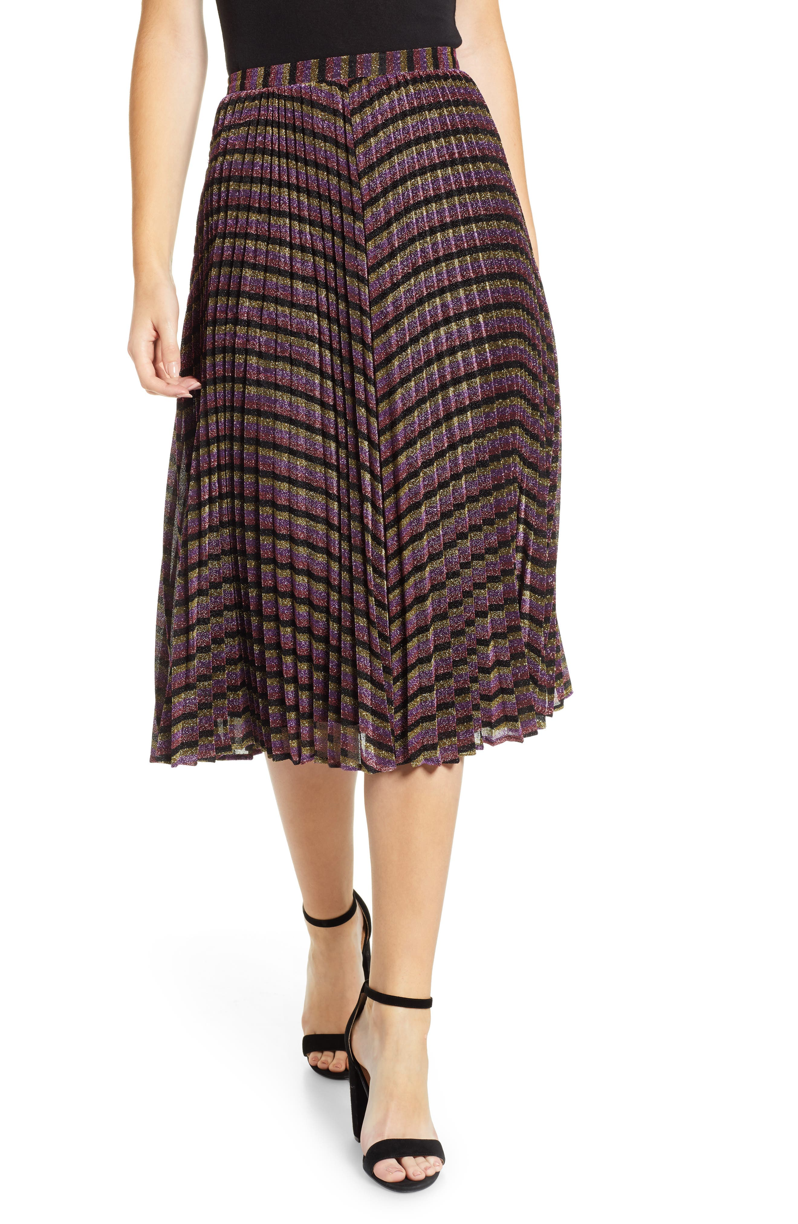 Sparkle Stripe Pleated Skirt,                             Main thumbnail 1, color,                             MULTICOLOUR