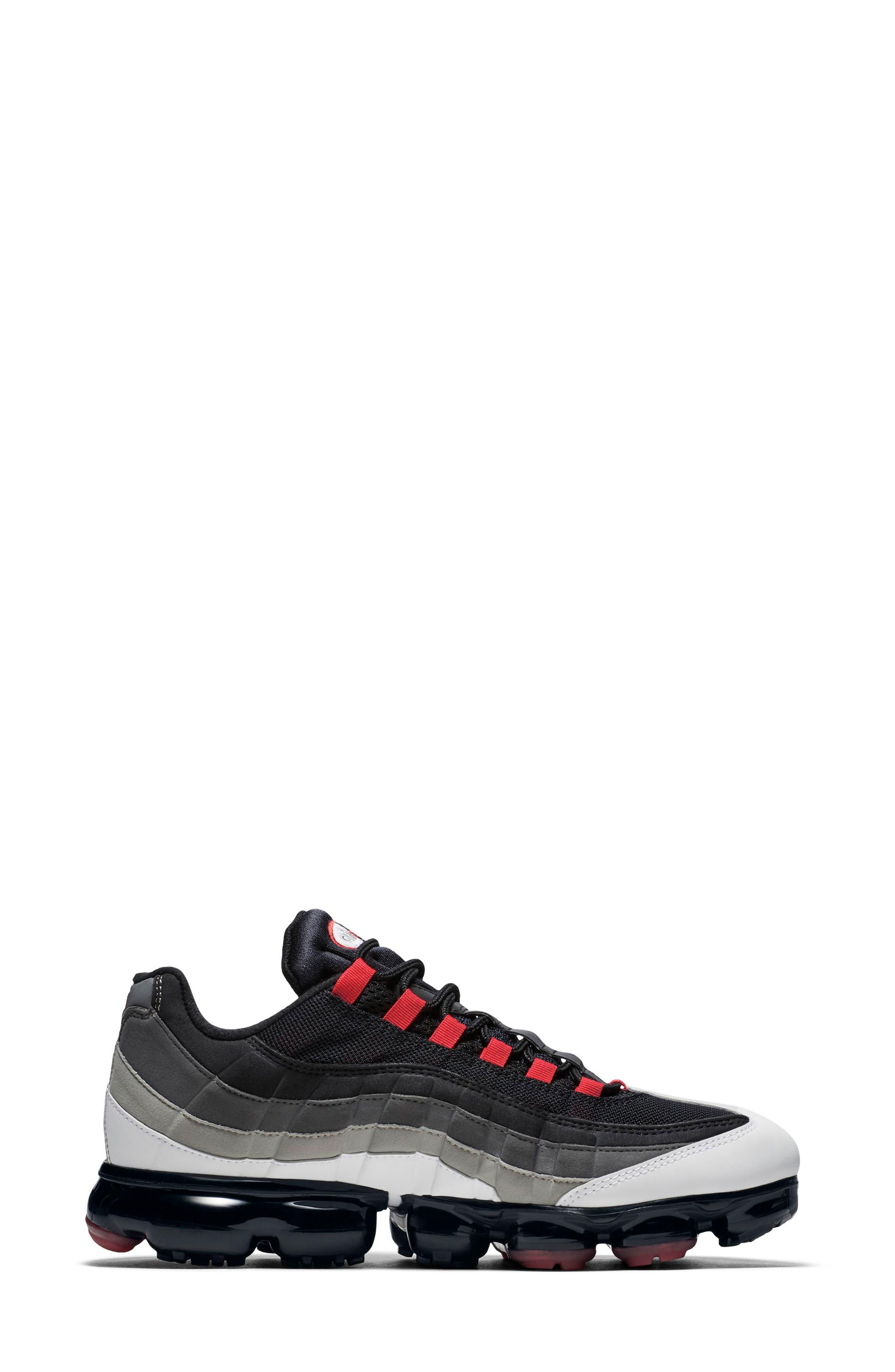 Air VaporMax '95 Sneaker,                             Alternate thumbnail 3, color,                             WHITE/ RED/ PEWTER/ GRANITE