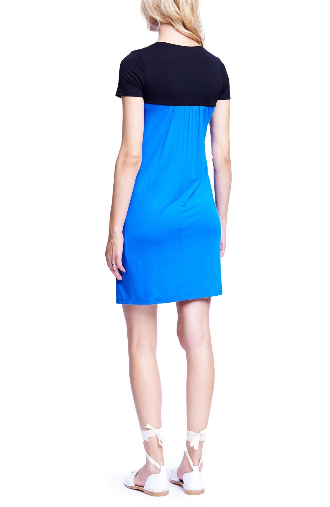 MATERNAL AMERICA,                             Babydoll Maternity/Nursing Dress,                             Alternate thumbnail 2, color,                             BLACK/ ROYAL BLUE