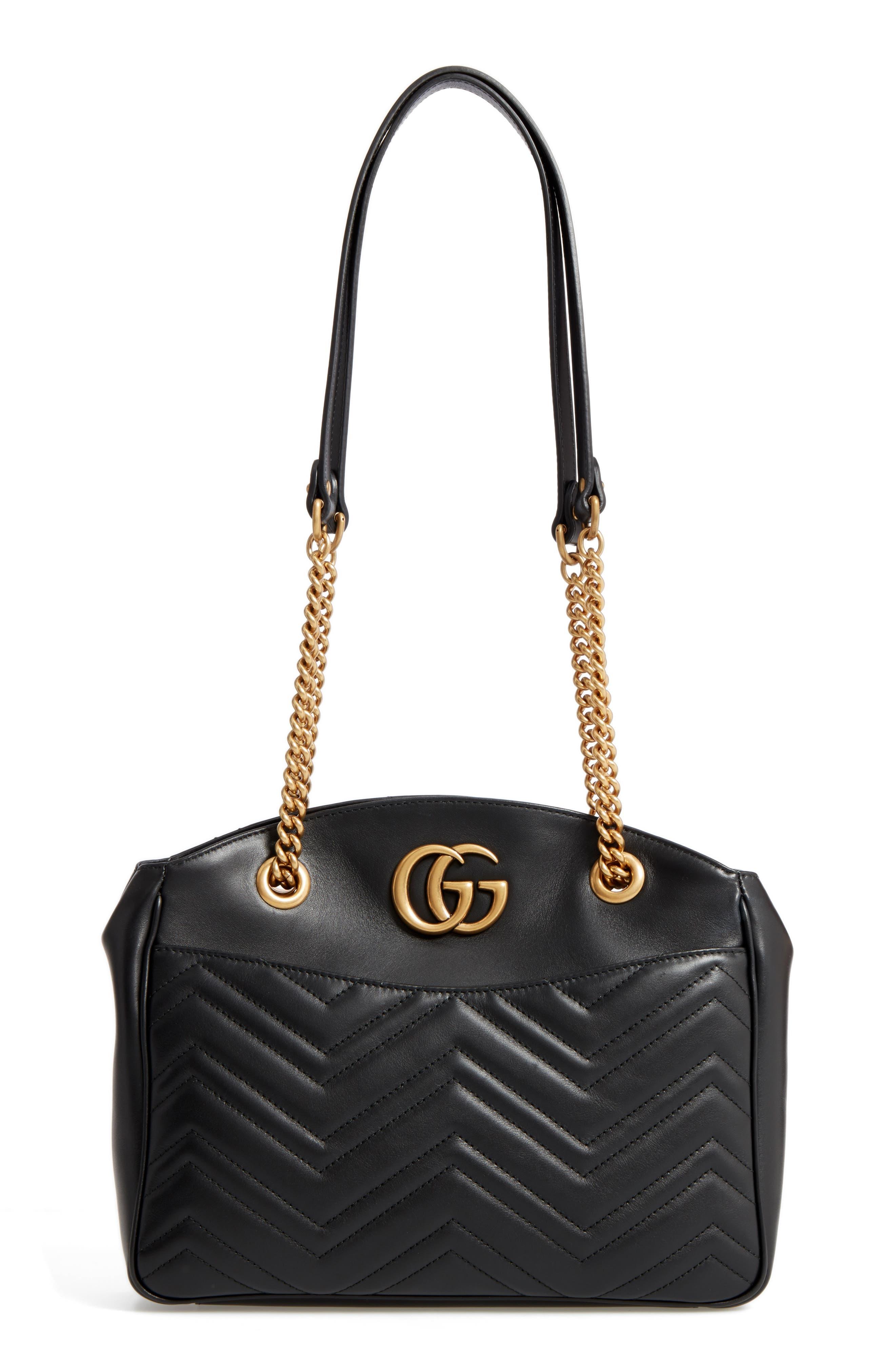GG Marmont Matelassé Leather Shoulder Bag,                             Main thumbnail 1, color,                             001