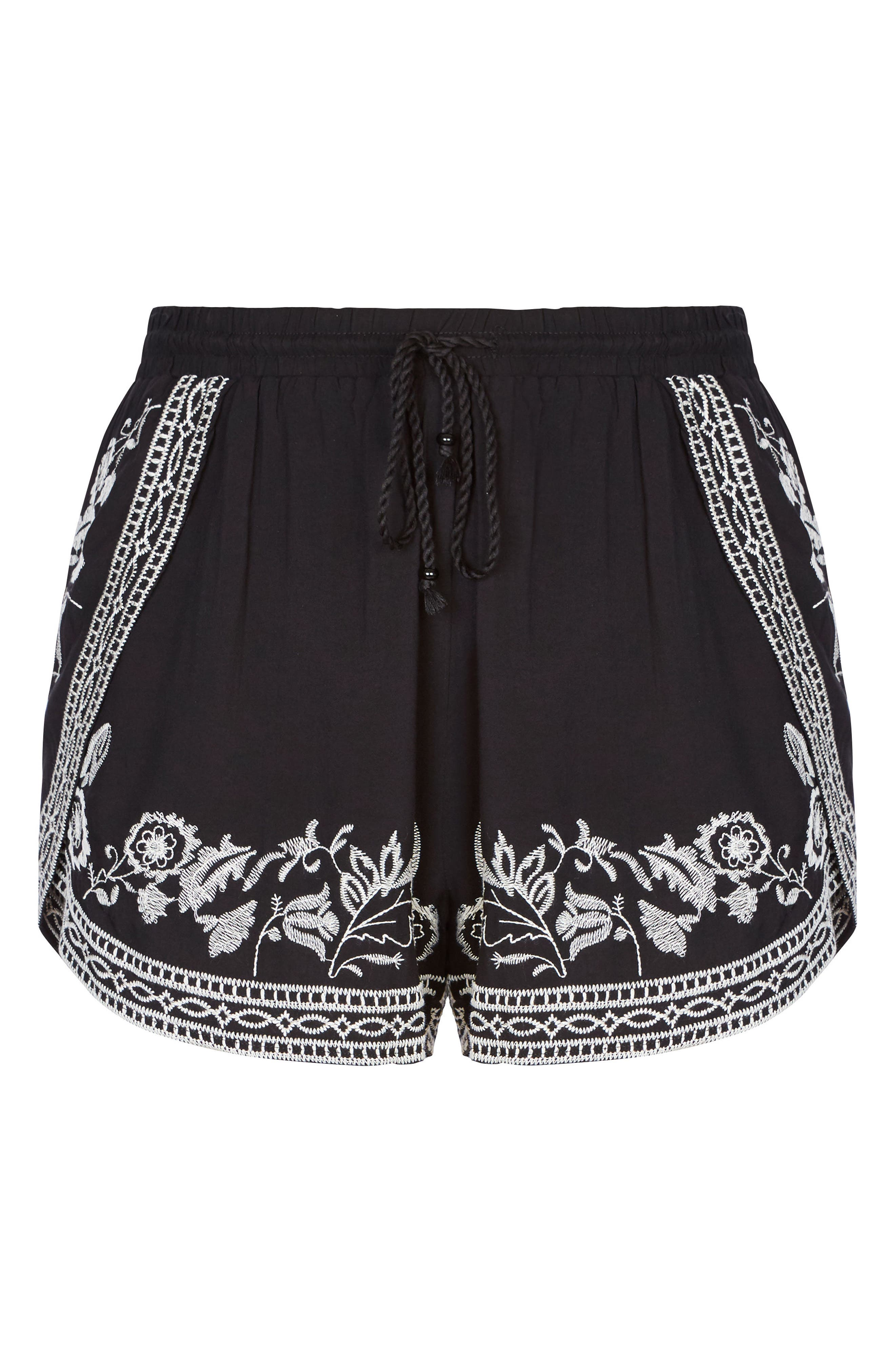 Stella Embroidered Shorts,                             Alternate thumbnail 3, color,                             001