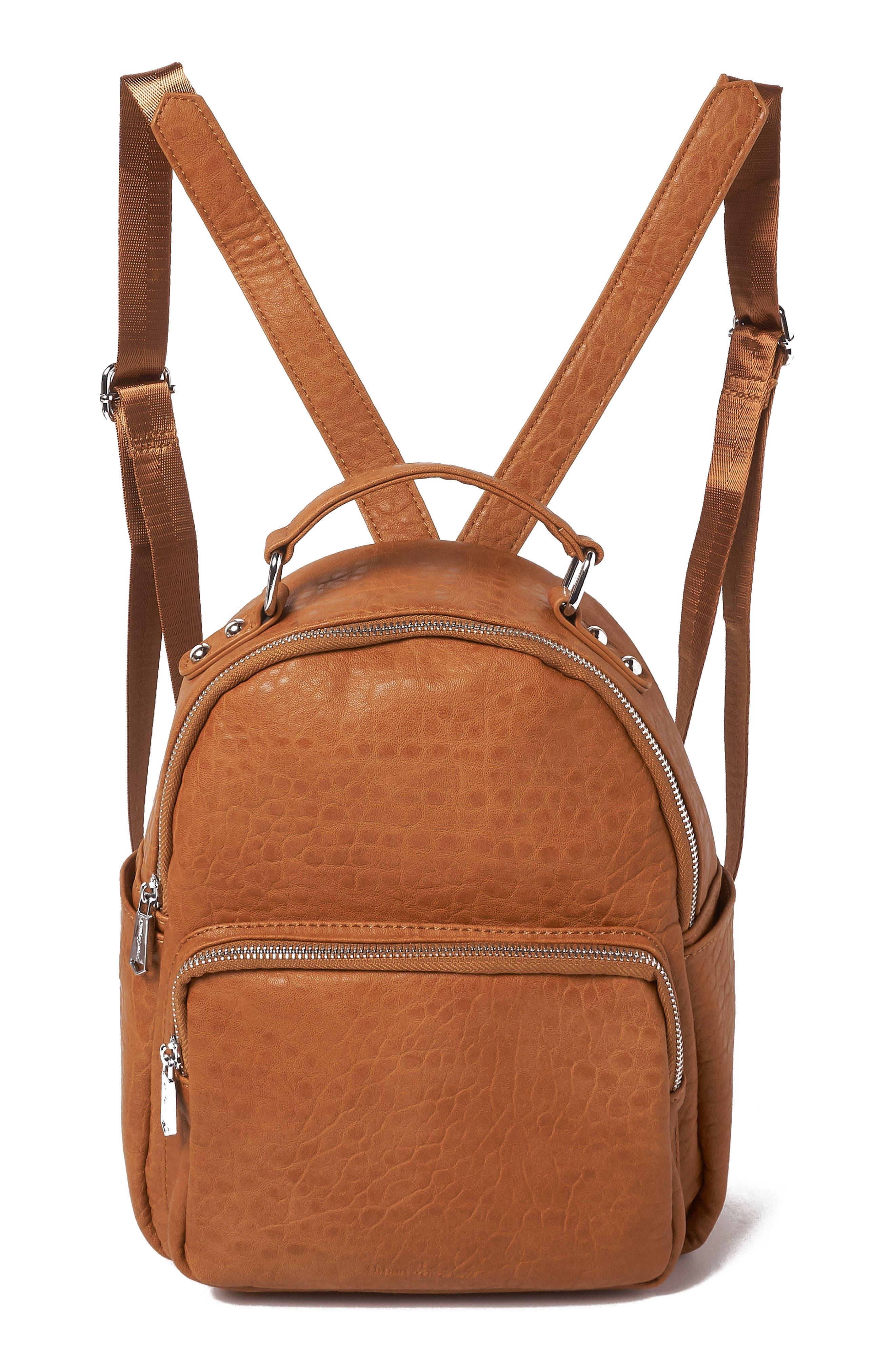 Vegan Leather Mini Backpack,                             Main thumbnail 1, color,                             TAN
