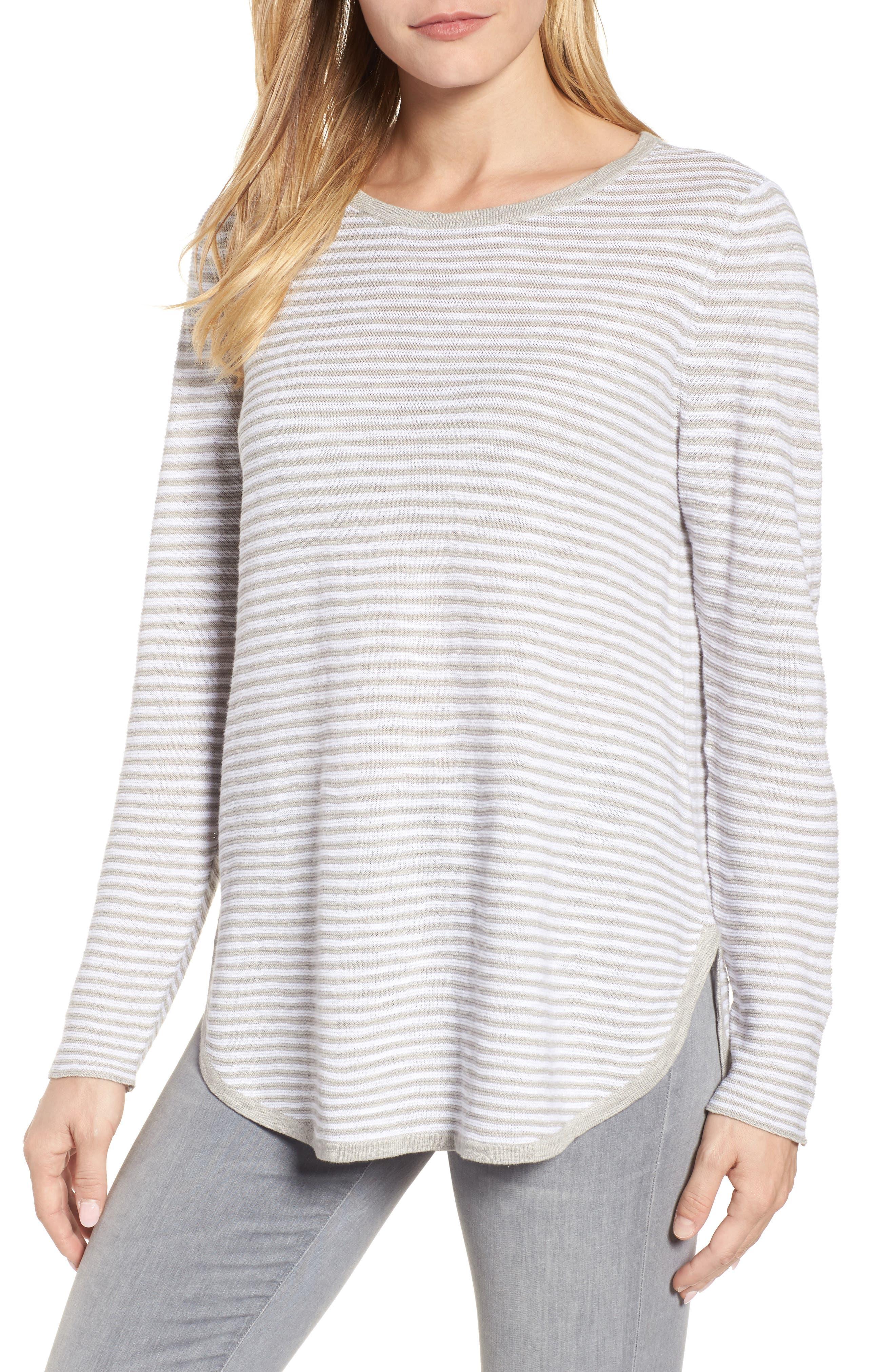 Stripe Organic Linen & Cotton Sweater,                             Main thumbnail 1, color,                             192
