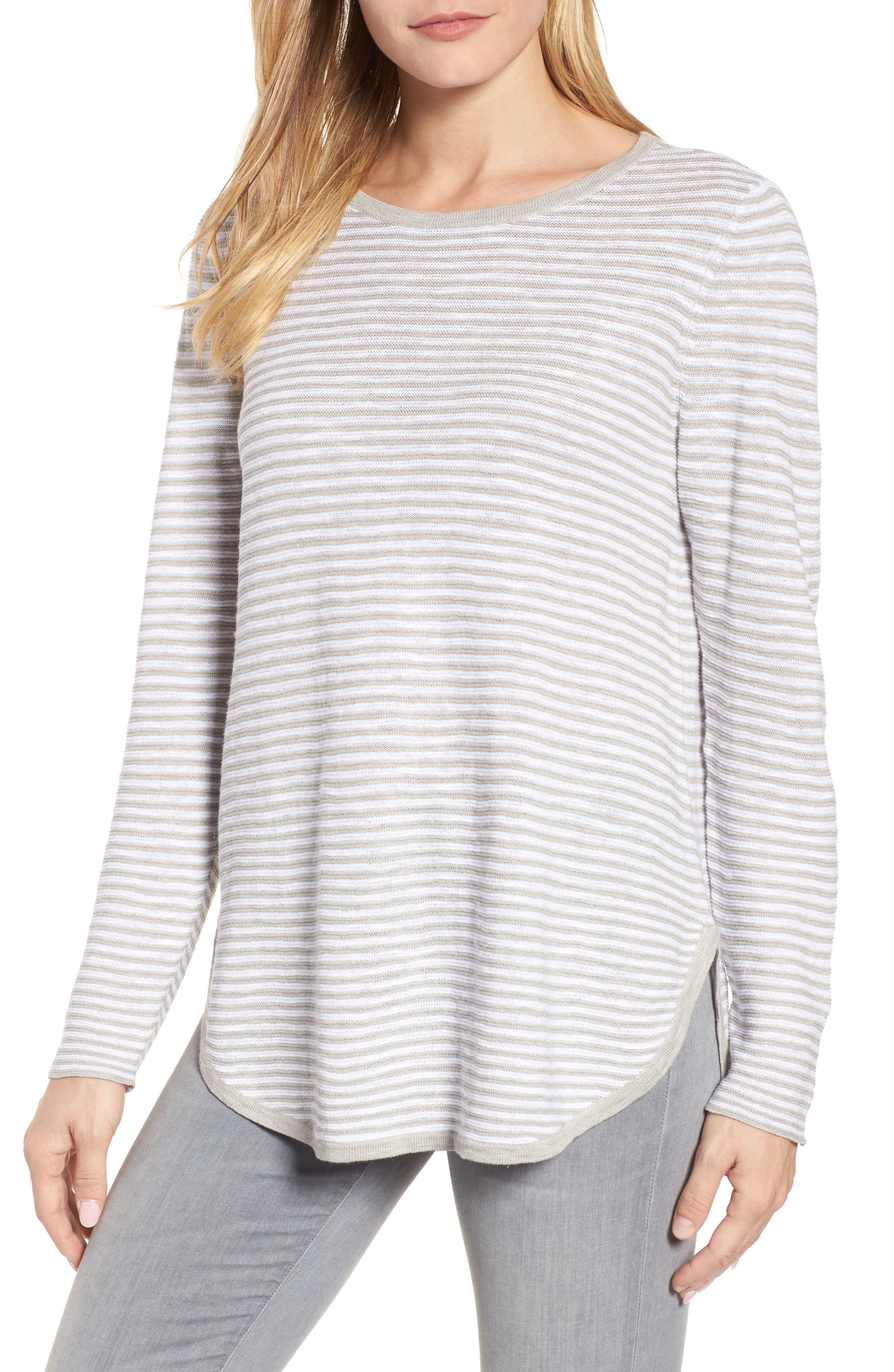 Stripe Organic Linen & Cotton Sweater,                         Main,                         color, 192