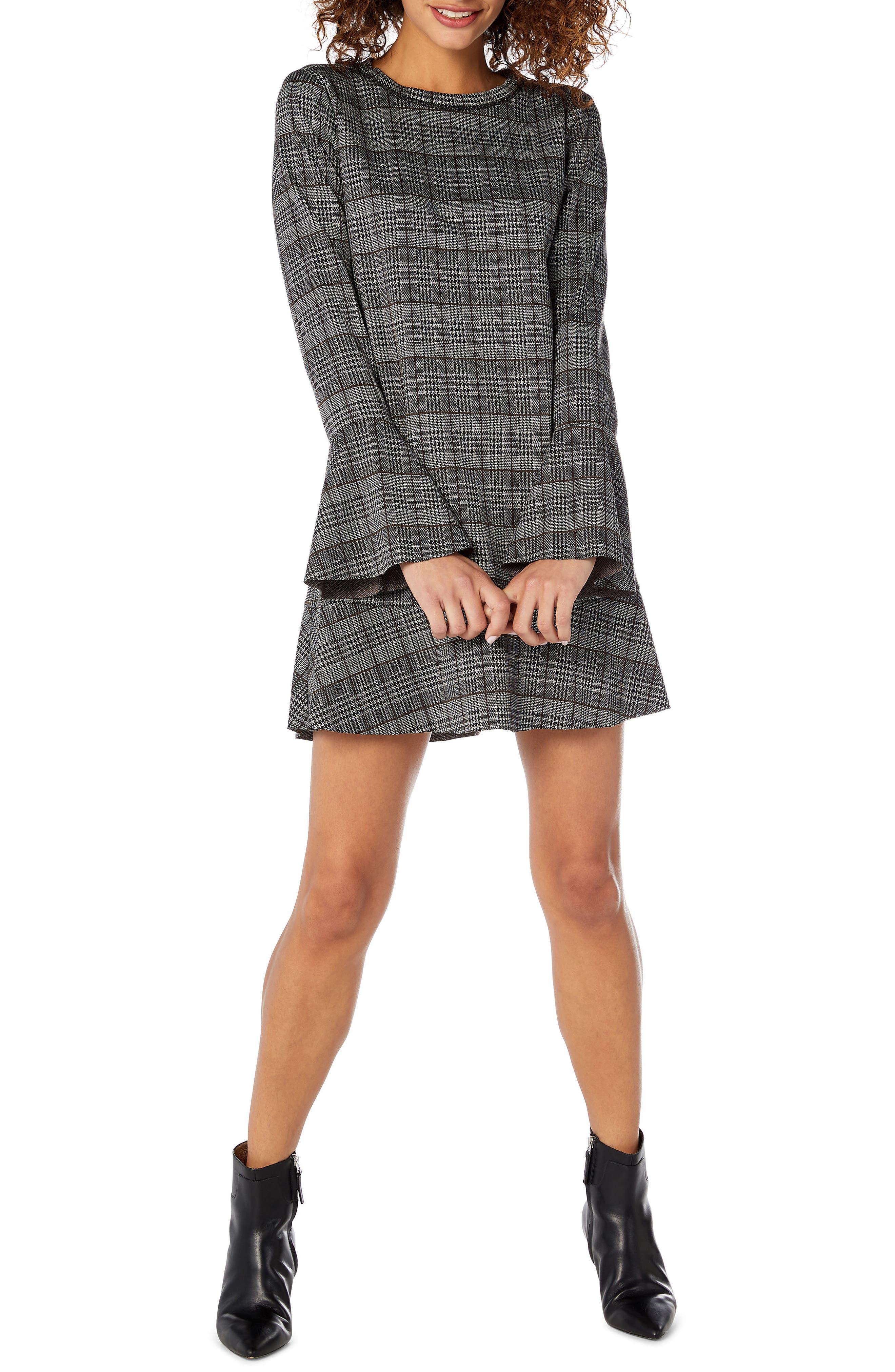 MICHAEL STARS Glen-Plaid Bell-Sleeve Dress