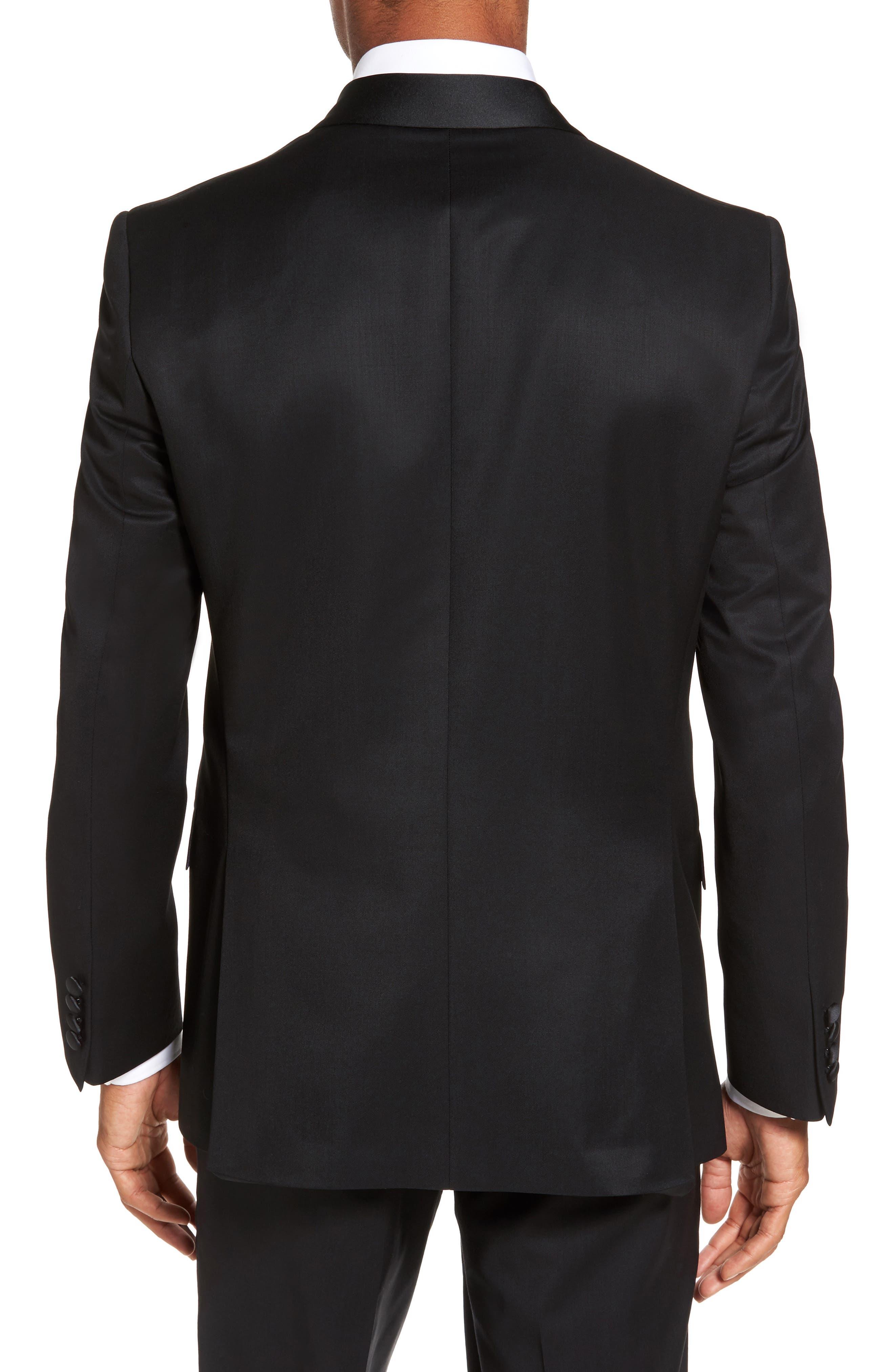 Trim Fit Wool & Mohair Dinner Jacket,                             Alternate thumbnail 2, color,                             BLACK