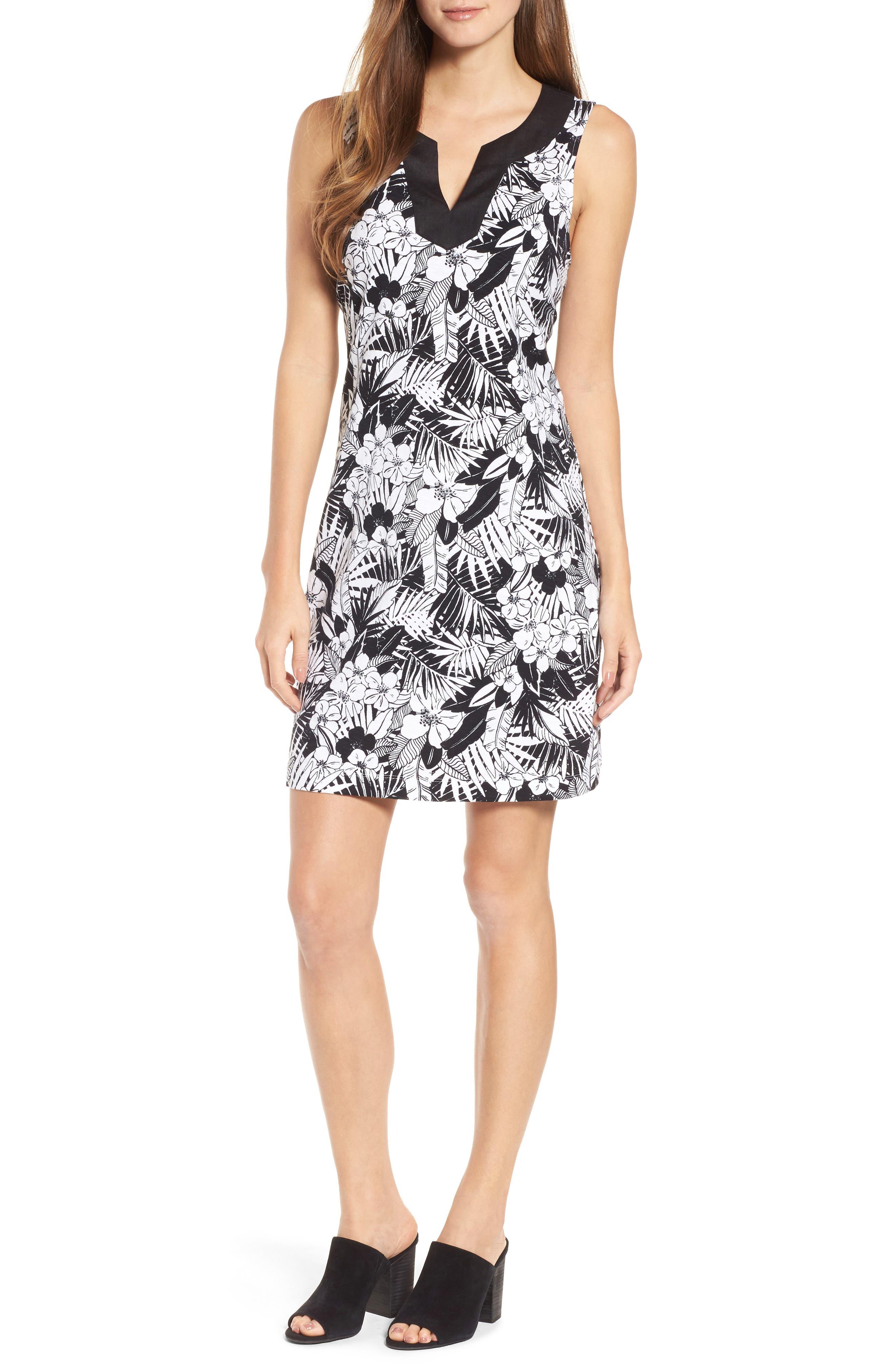 Palm Noir Sleeveless Tunic Dress,                             Main thumbnail 1, color,                             BLACK