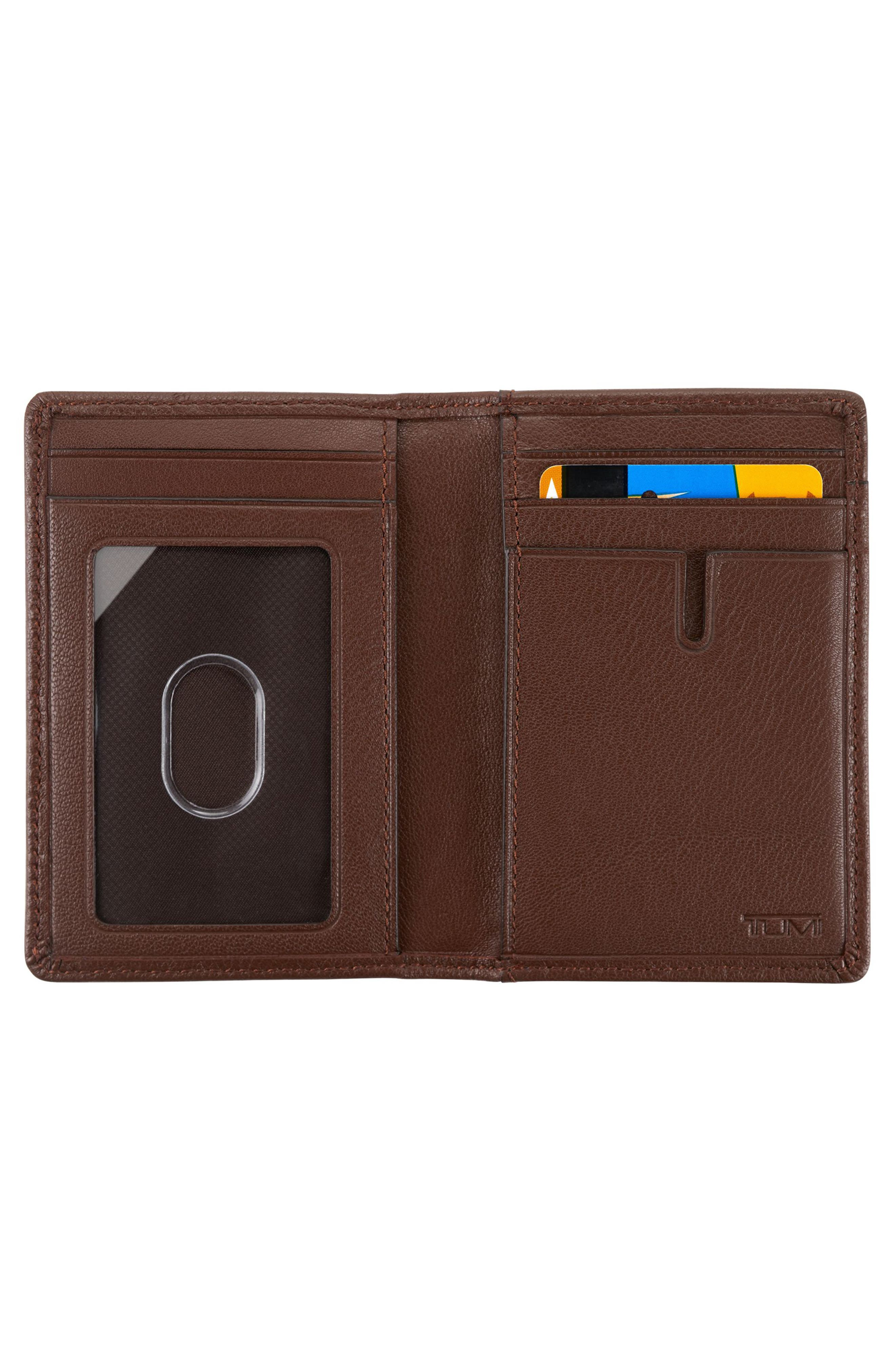 Leather Card Case,                             Alternate thumbnail 2, color,                             BROWN TEXTURED