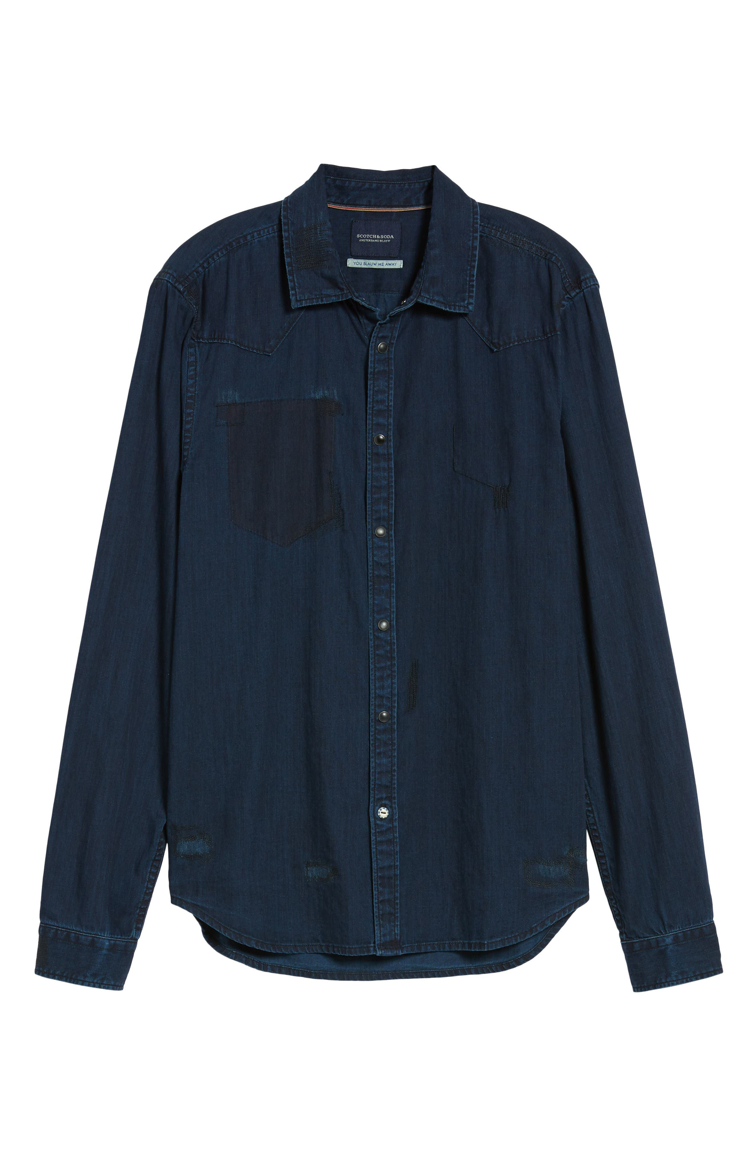 Pocketless Western Denim Shirt,                             Alternate thumbnail 6, color,