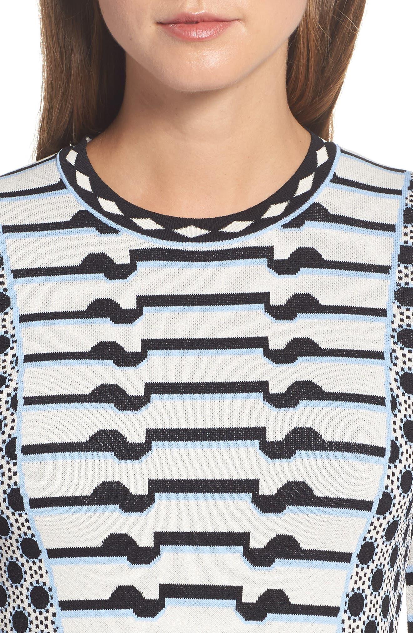 Stripe Knit Fit & Flare Dress,                             Alternate thumbnail 4, color,                             302