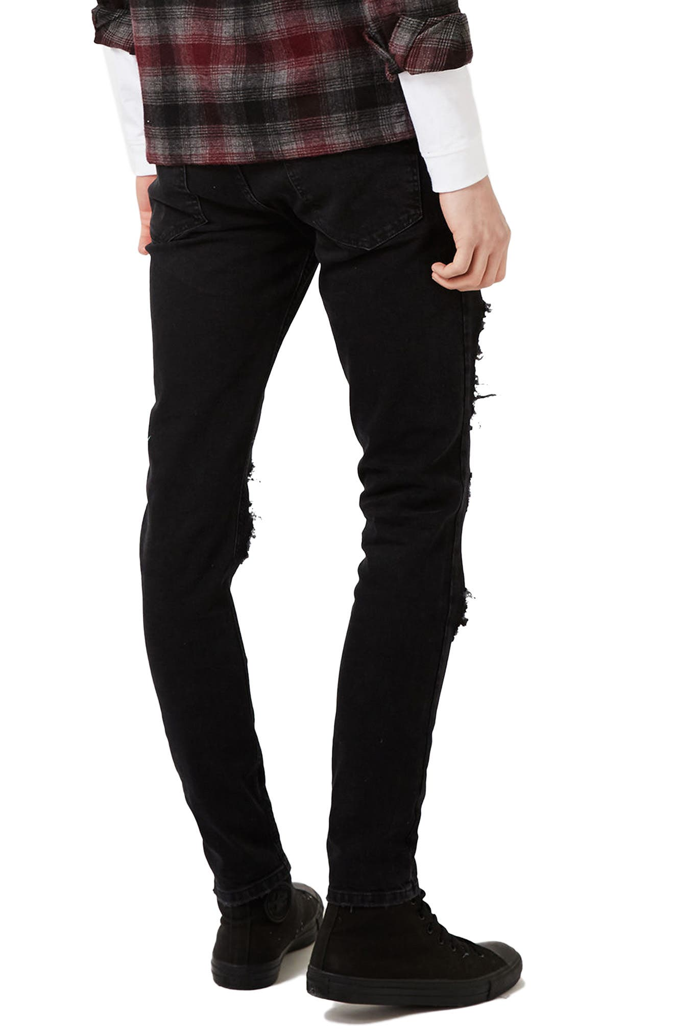 Extreme Ripped Stretch Skinny Fit Jeans,                             Alternate thumbnail 2, color,                             001