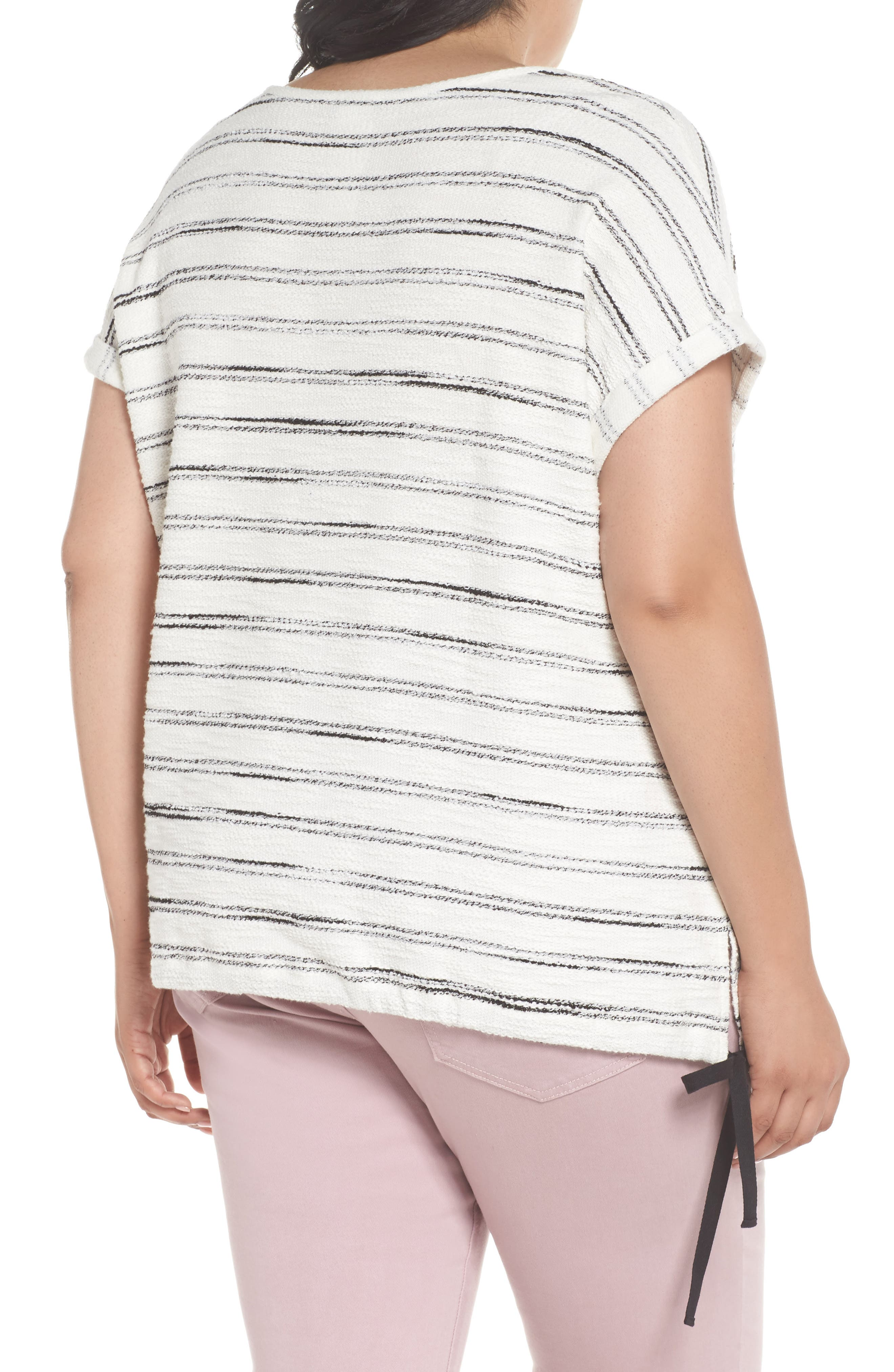 Drawstring Waist Nubby Stripe Top,                             Alternate thumbnail 2, color,                             001