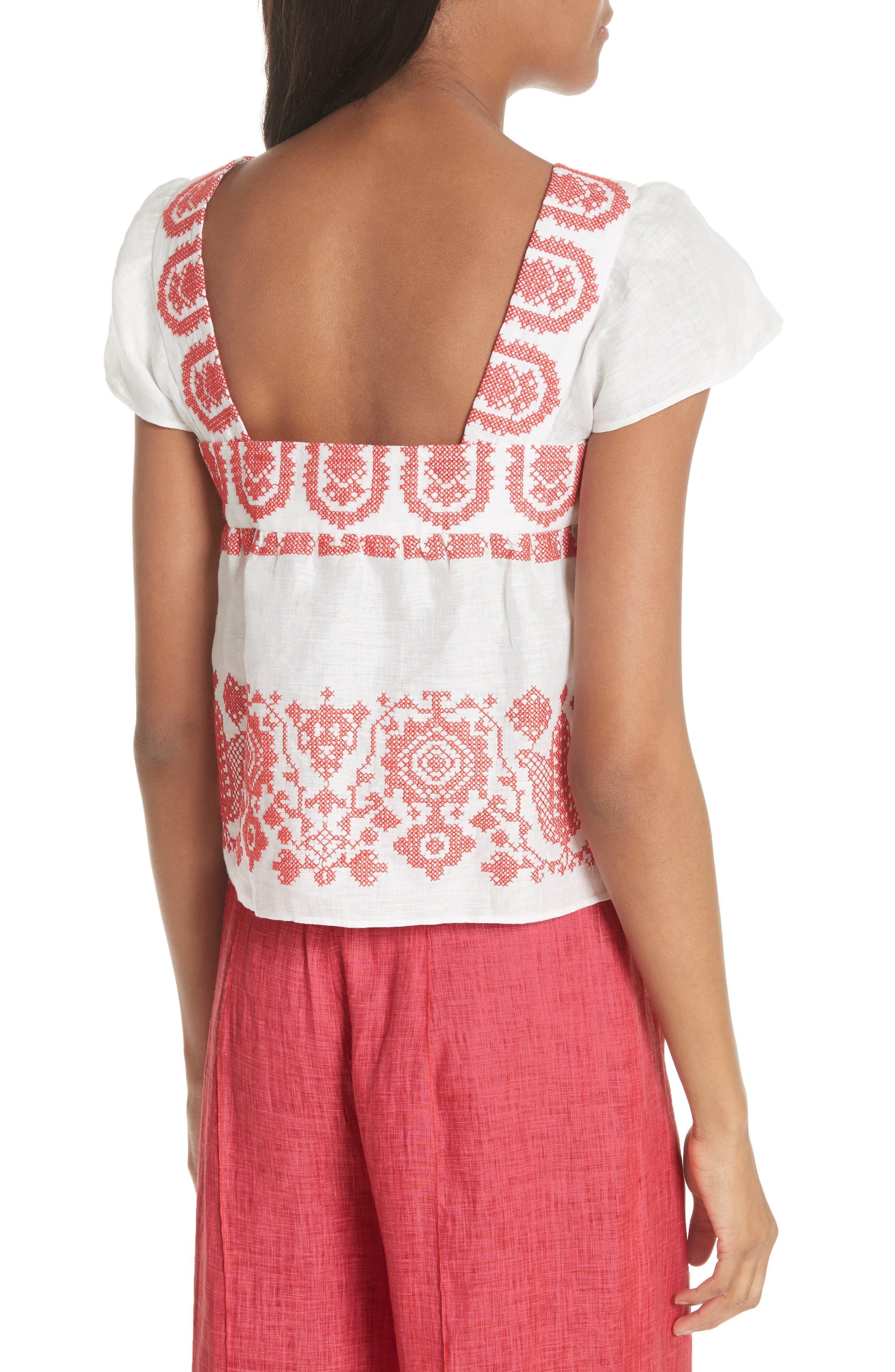 Mykonos Embroidered Crop Square Neck Linen Top,                             Alternate thumbnail 2, color,                             POPPY