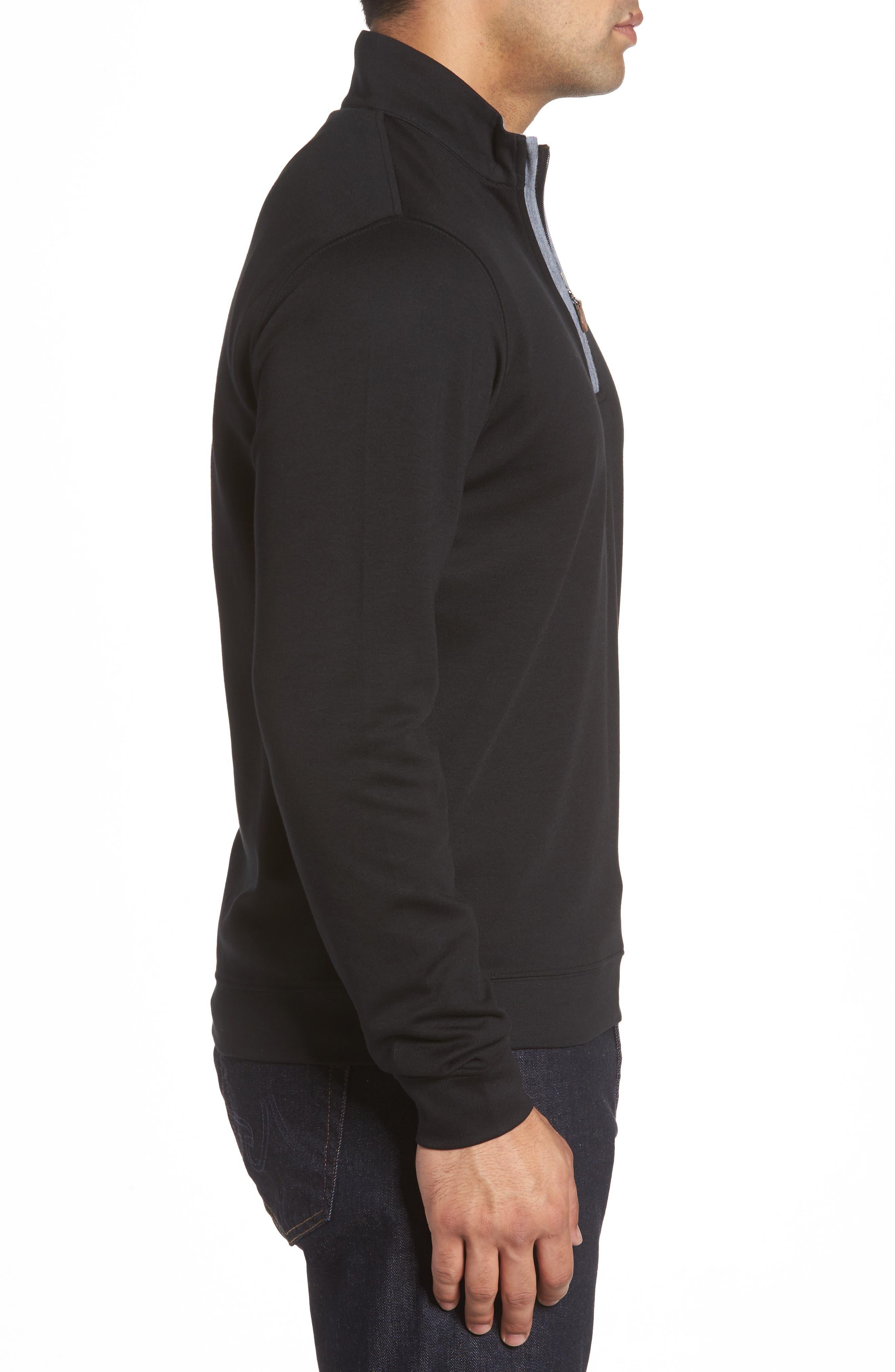 Sully Quarter Zip Pullover,                             Alternate thumbnail 3, color,                             BLACK