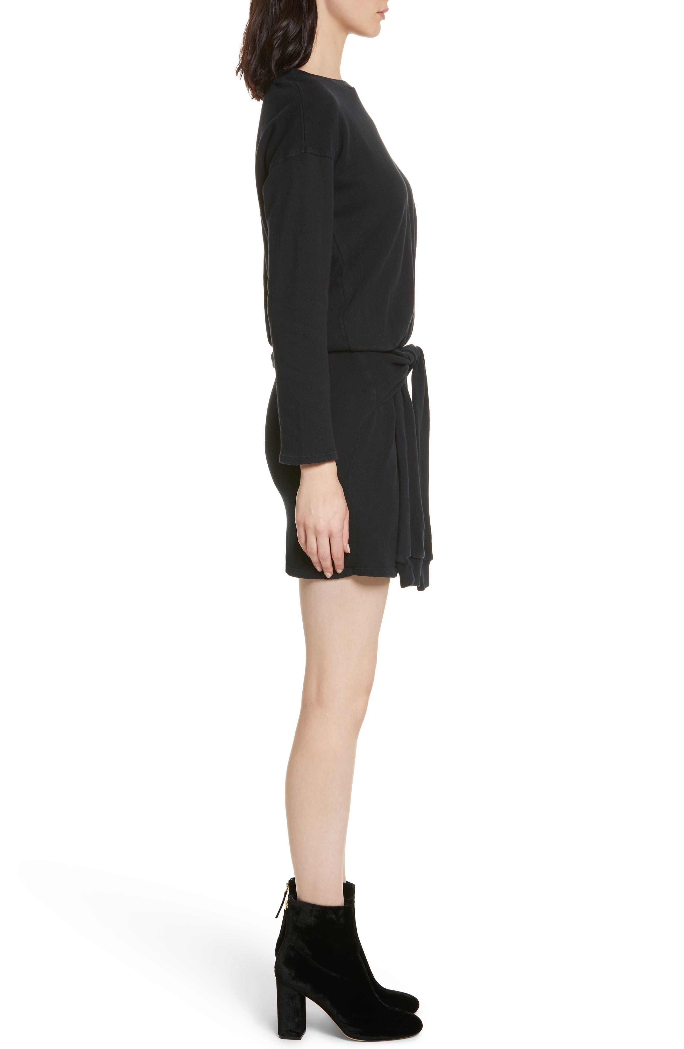 Lucya Tie Waist Cotton Minidress,                             Alternate thumbnail 3, color,                             002