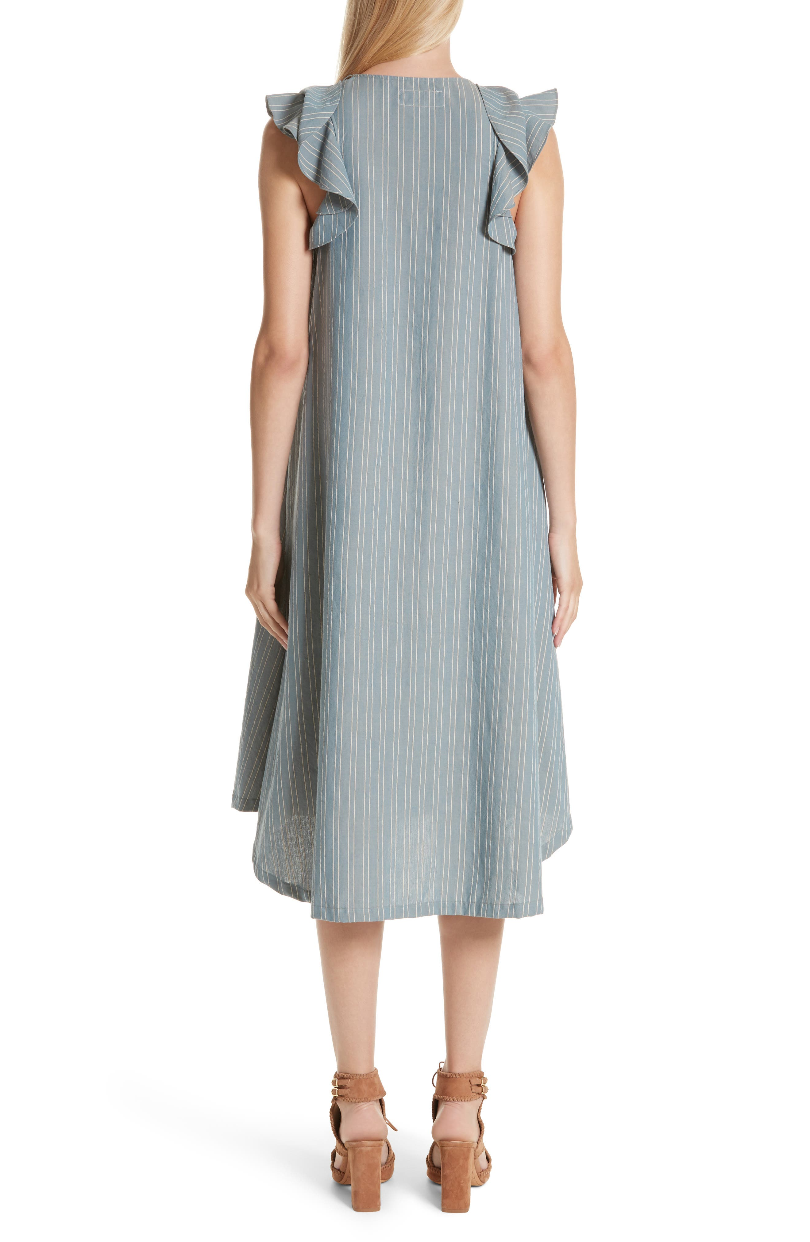 The Petal Stripe Chambray Dress,                             Alternate thumbnail 2, color,                             401