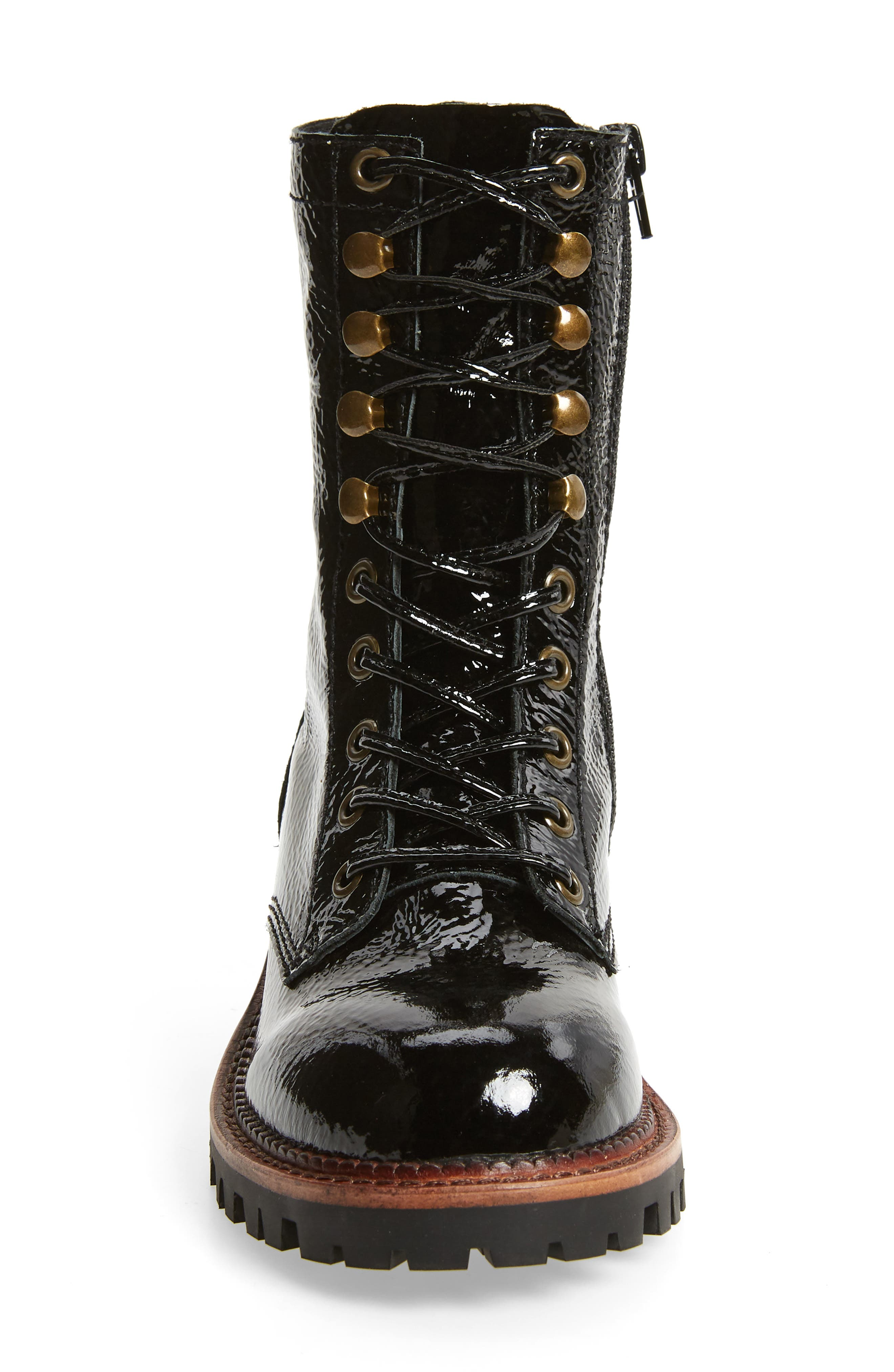 Sycamore Patent Leather Boot,                             Alternate thumbnail 4, color,                             BLACK CRINKLE PATENT LEATHER