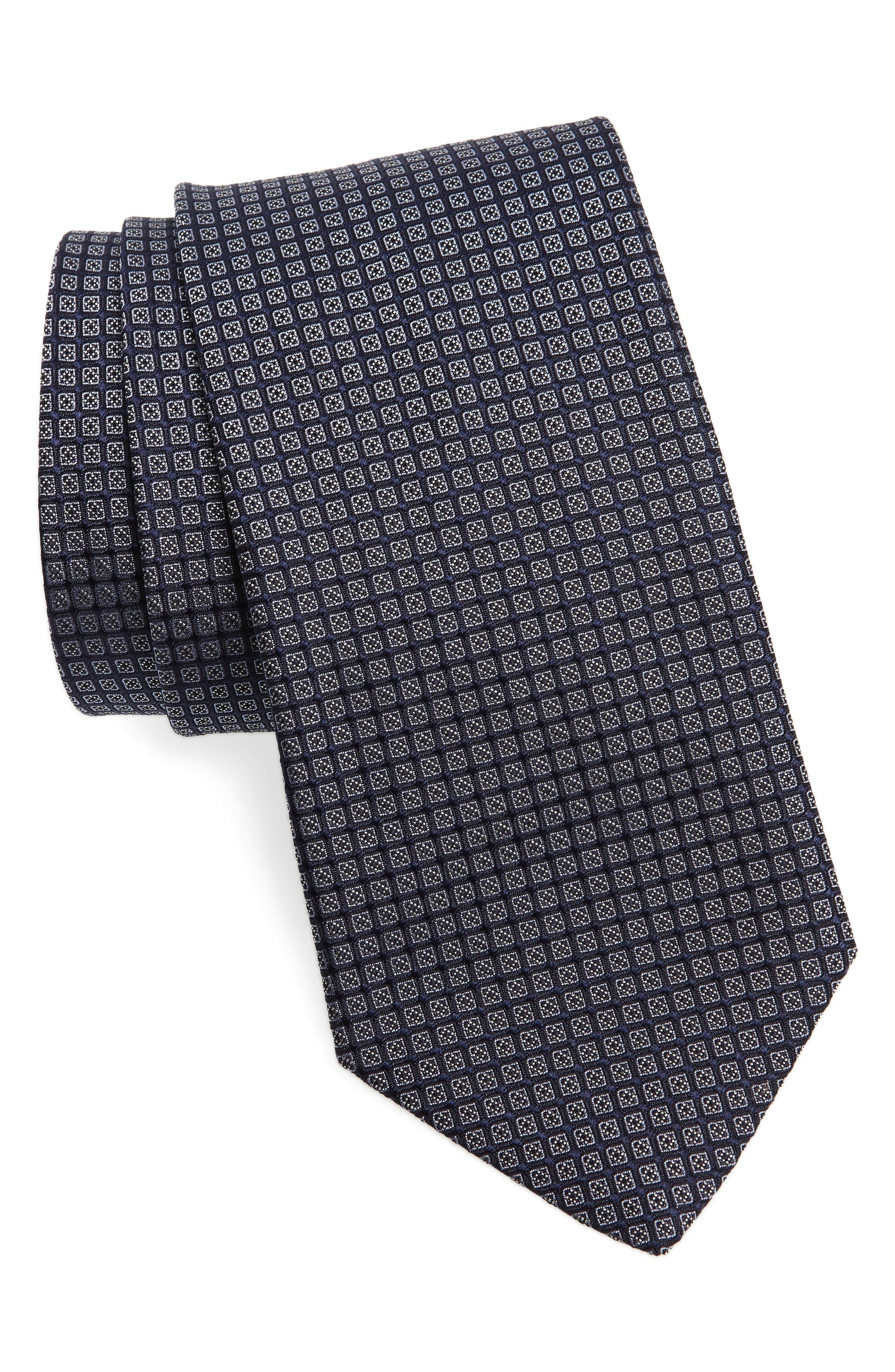 Check Silk Tie,                         Main,                         color, CAPRI BLUE