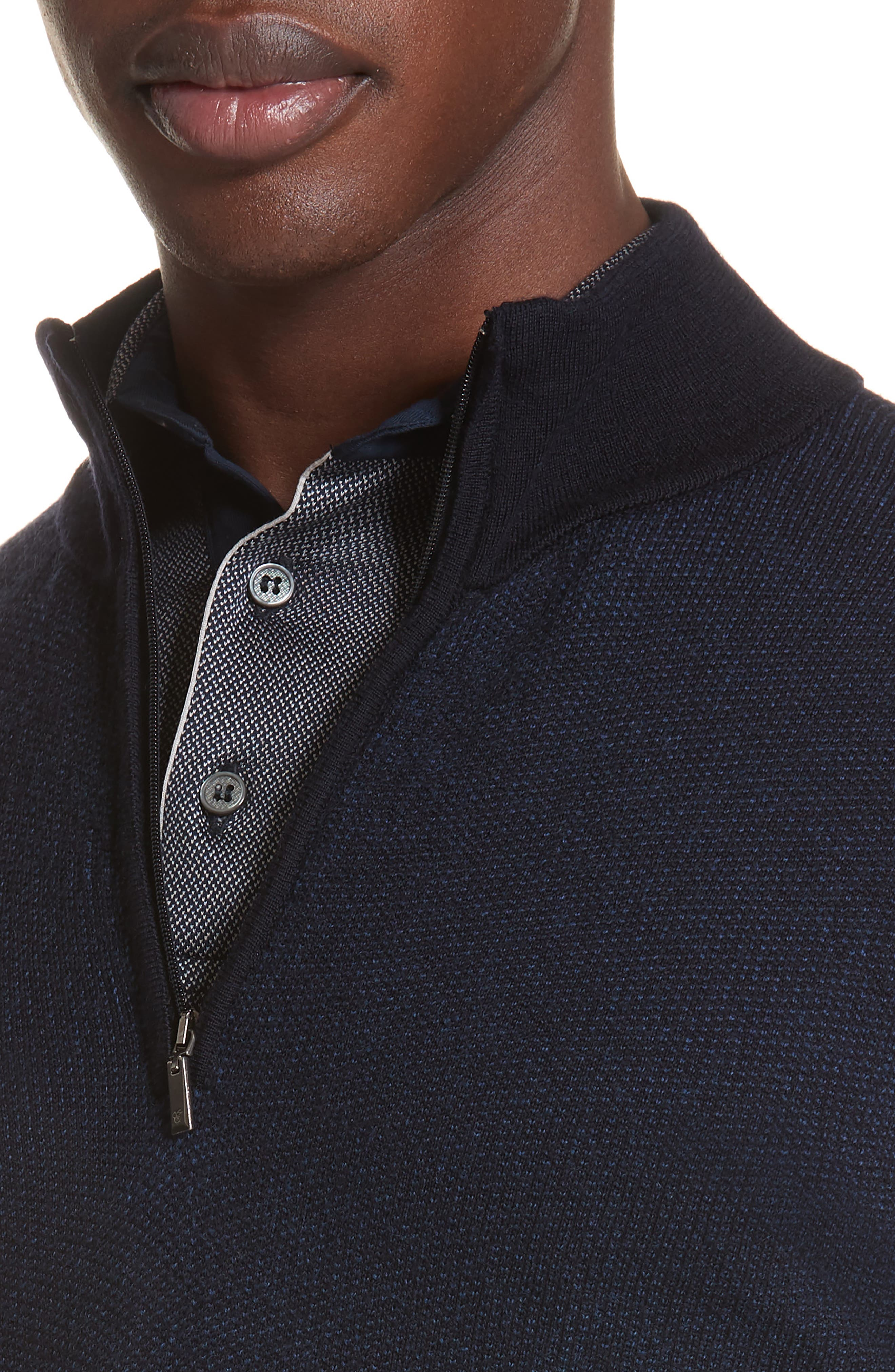 Quarter Zip Wool Sweater,                             Alternate thumbnail 4, color,                             400