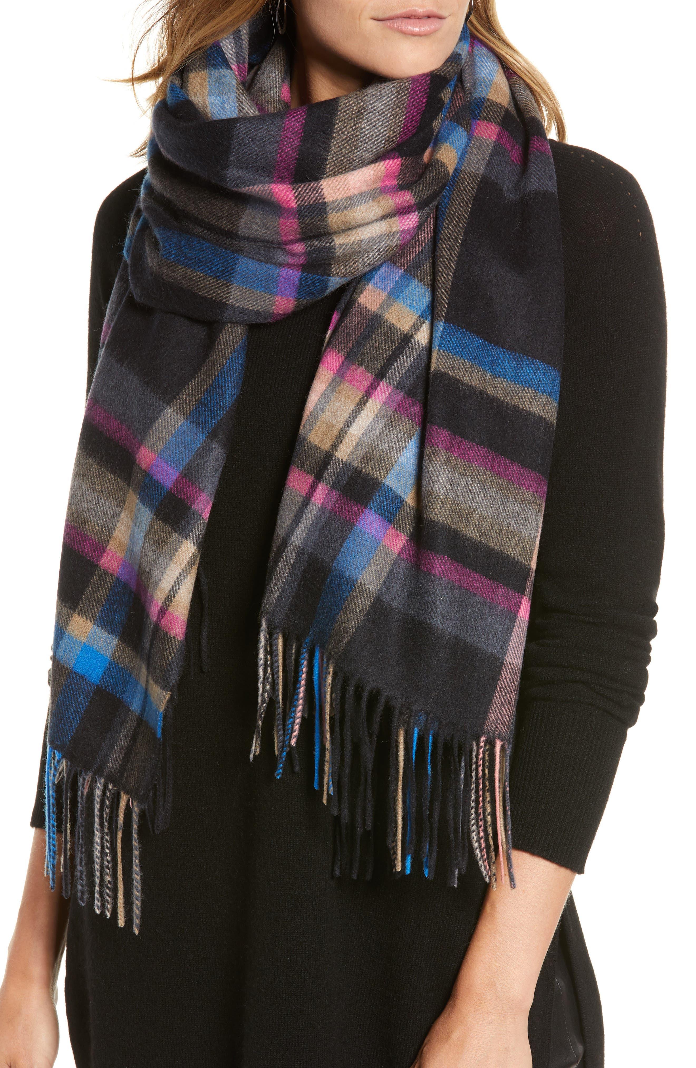 Plaid Cashmere Wrap Scarf,                         Main,                         color, BLACK COMBO