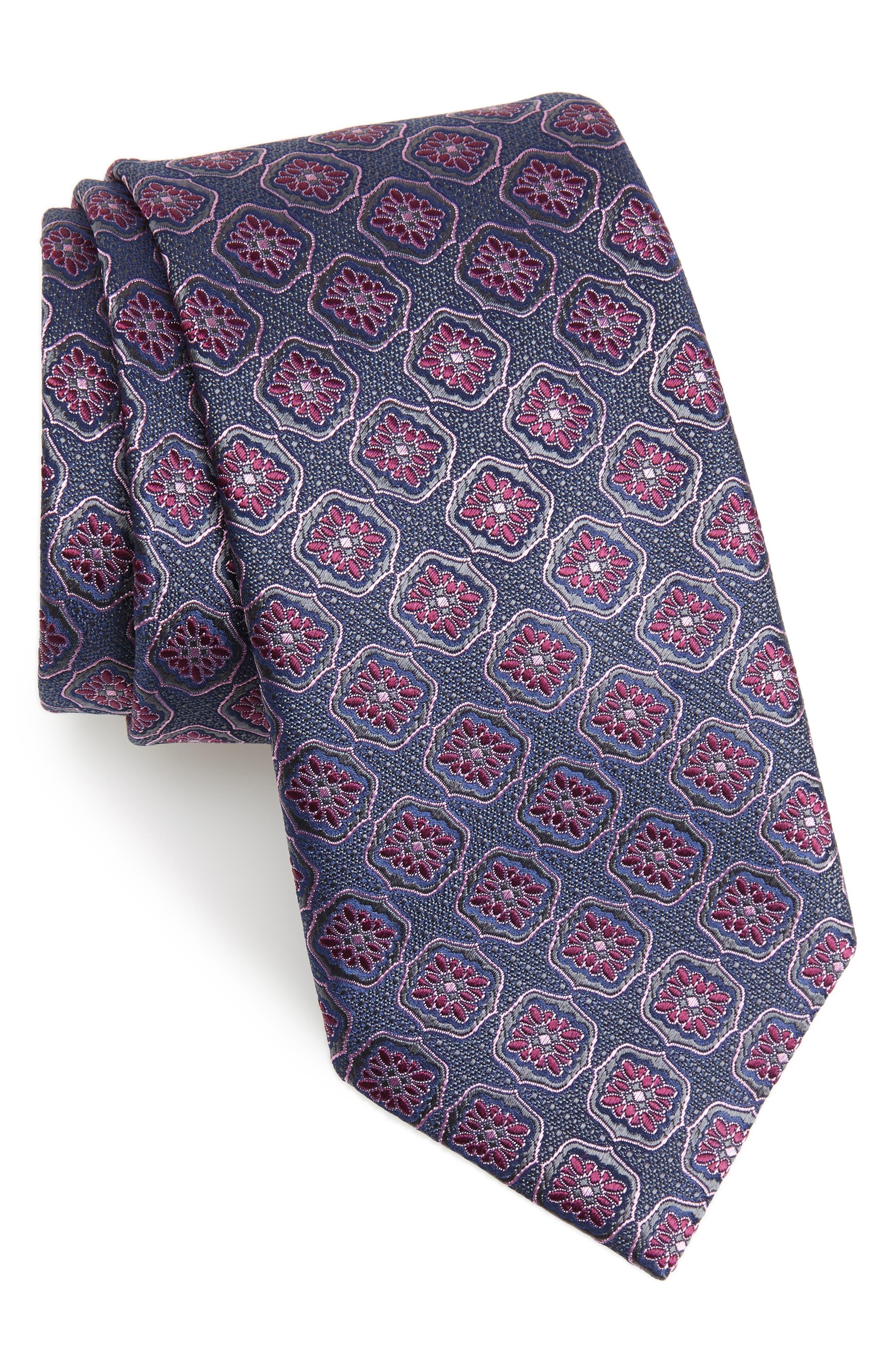 Medallion Silk Tie,                         Main,                         color, GREY