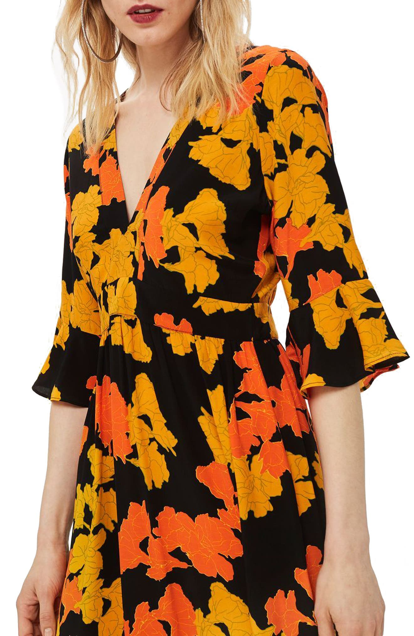 TOPSHOP,                             Bold Floral Midi Dress,                             Alternate thumbnail 4, color,                             001