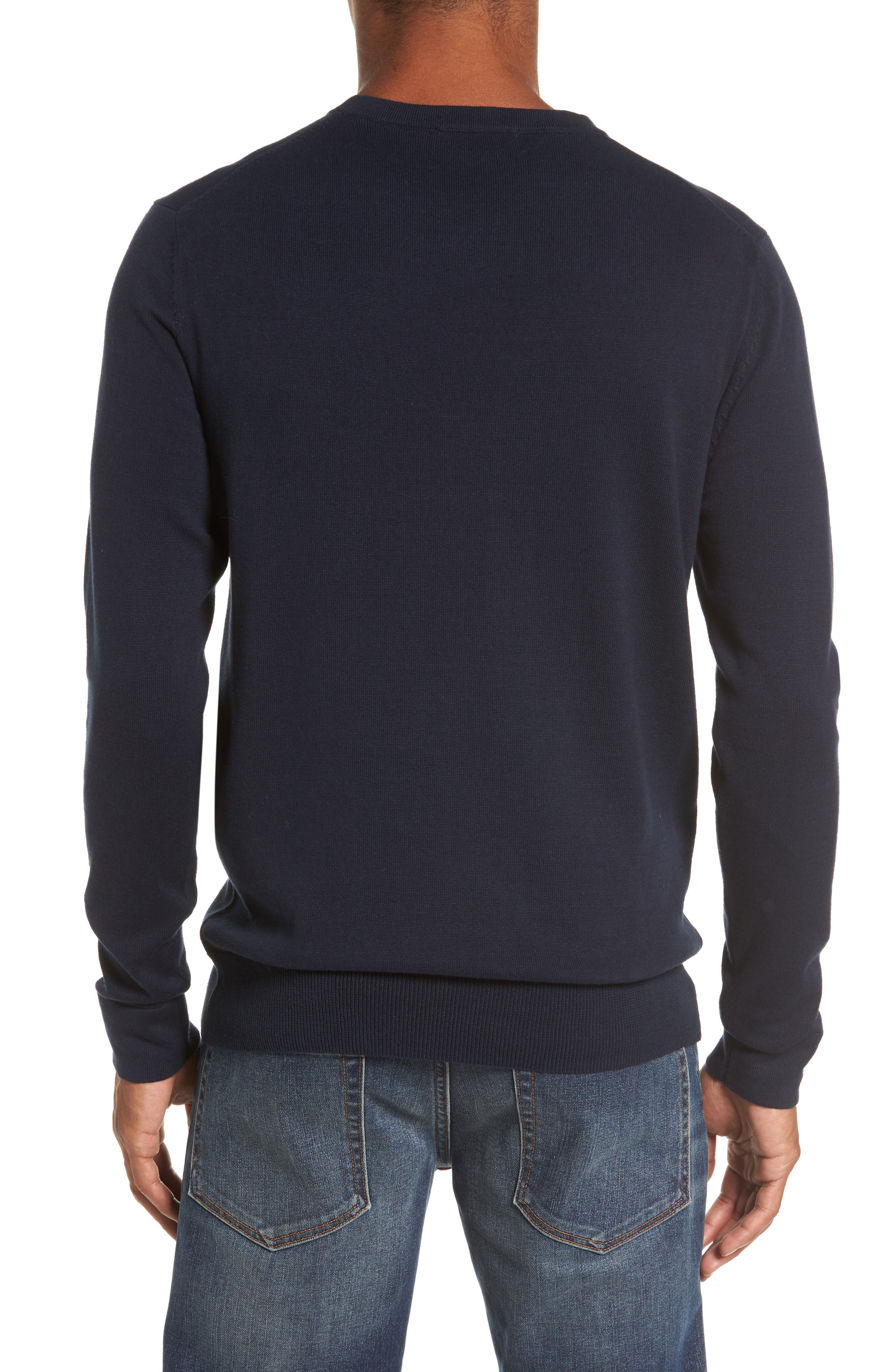 FRENCH CONNECTION,                             Milano Front Regular Fit Cotton Sweater,                             Alternate thumbnail 2, color,                             MARINE BLUE