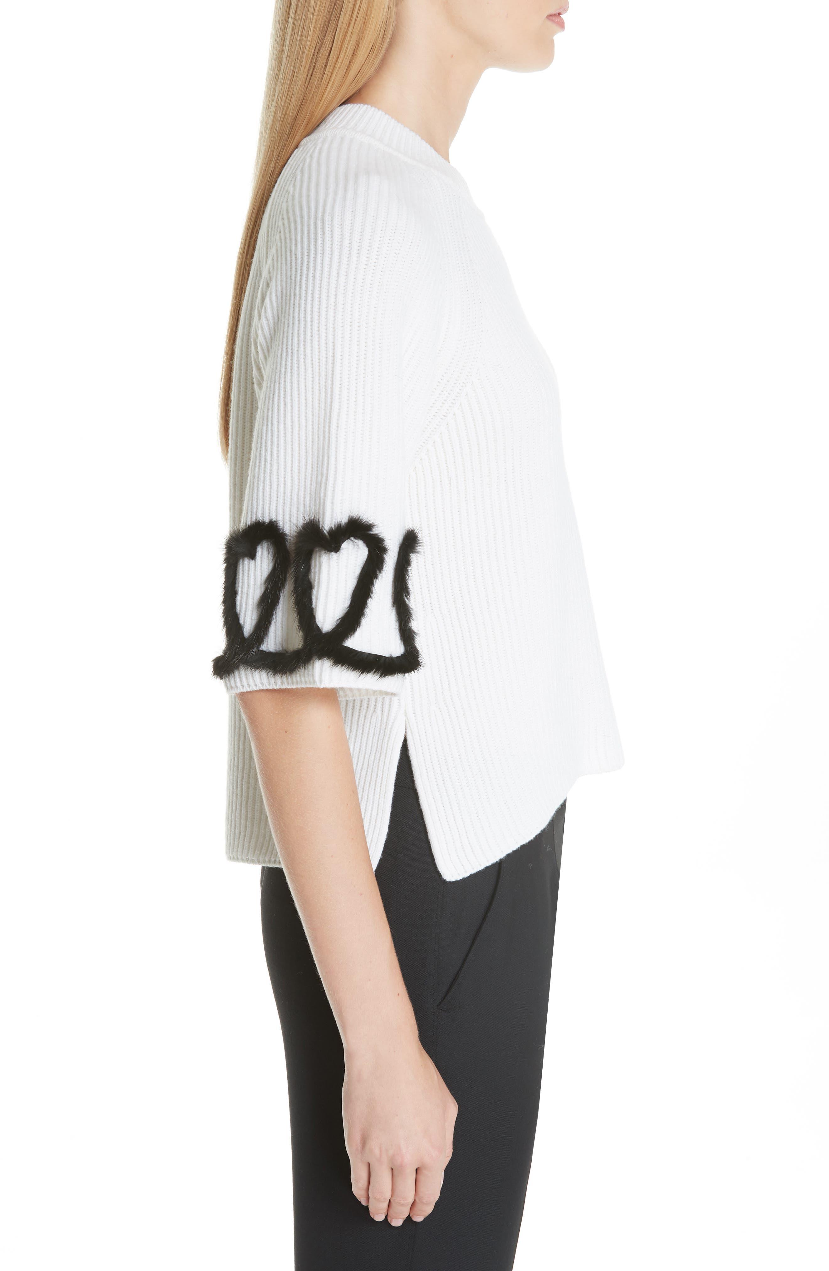 FENDI,                             Scribble Heart Sweater with Genuine Mink Fur Trim,                             Alternate thumbnail 3, color,                             WHITE