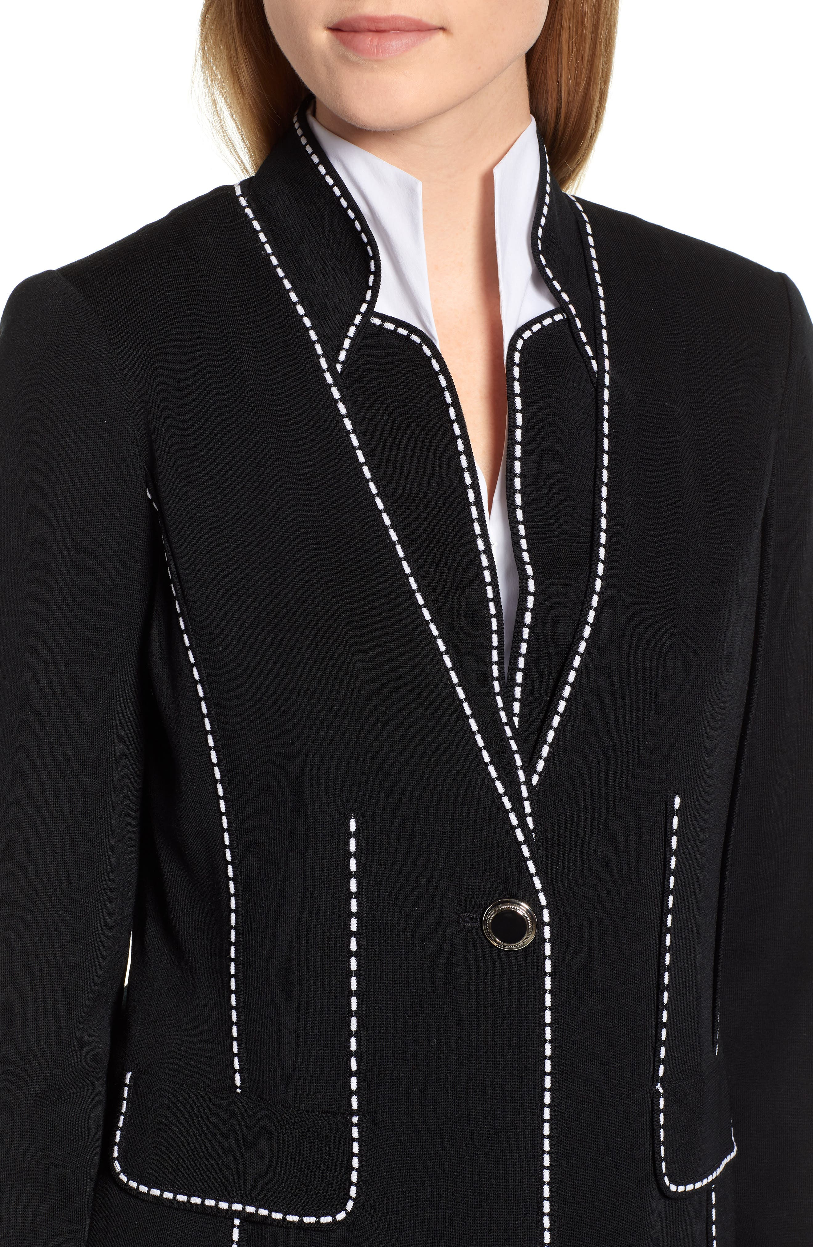 Contrast Jacquard Sweater Jacket,                             Alternate thumbnail 4, color,                             BLACK/ WHITE