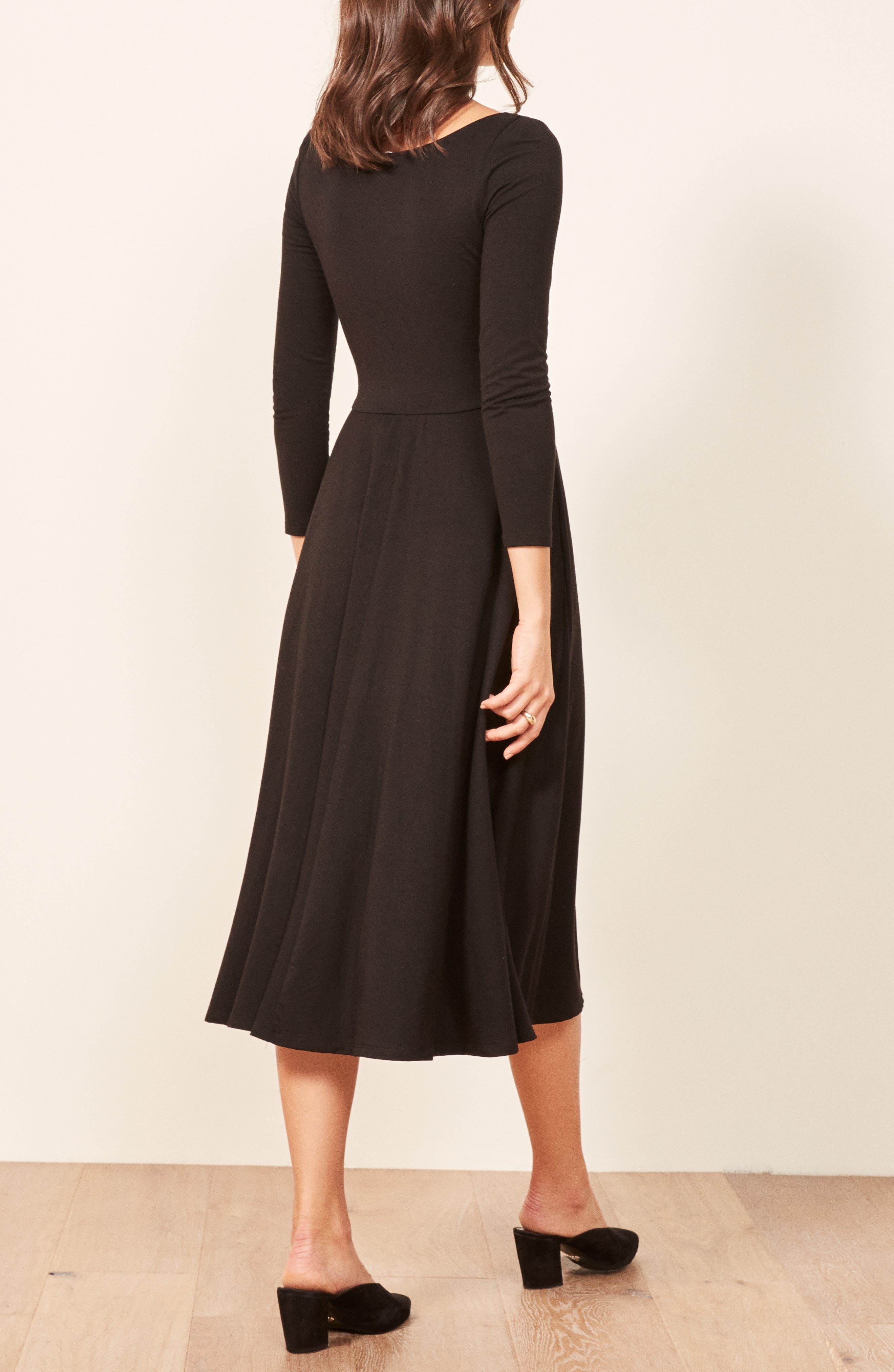 Lou Midi Dress,                             Alternate thumbnail 3, color,                             BLACK