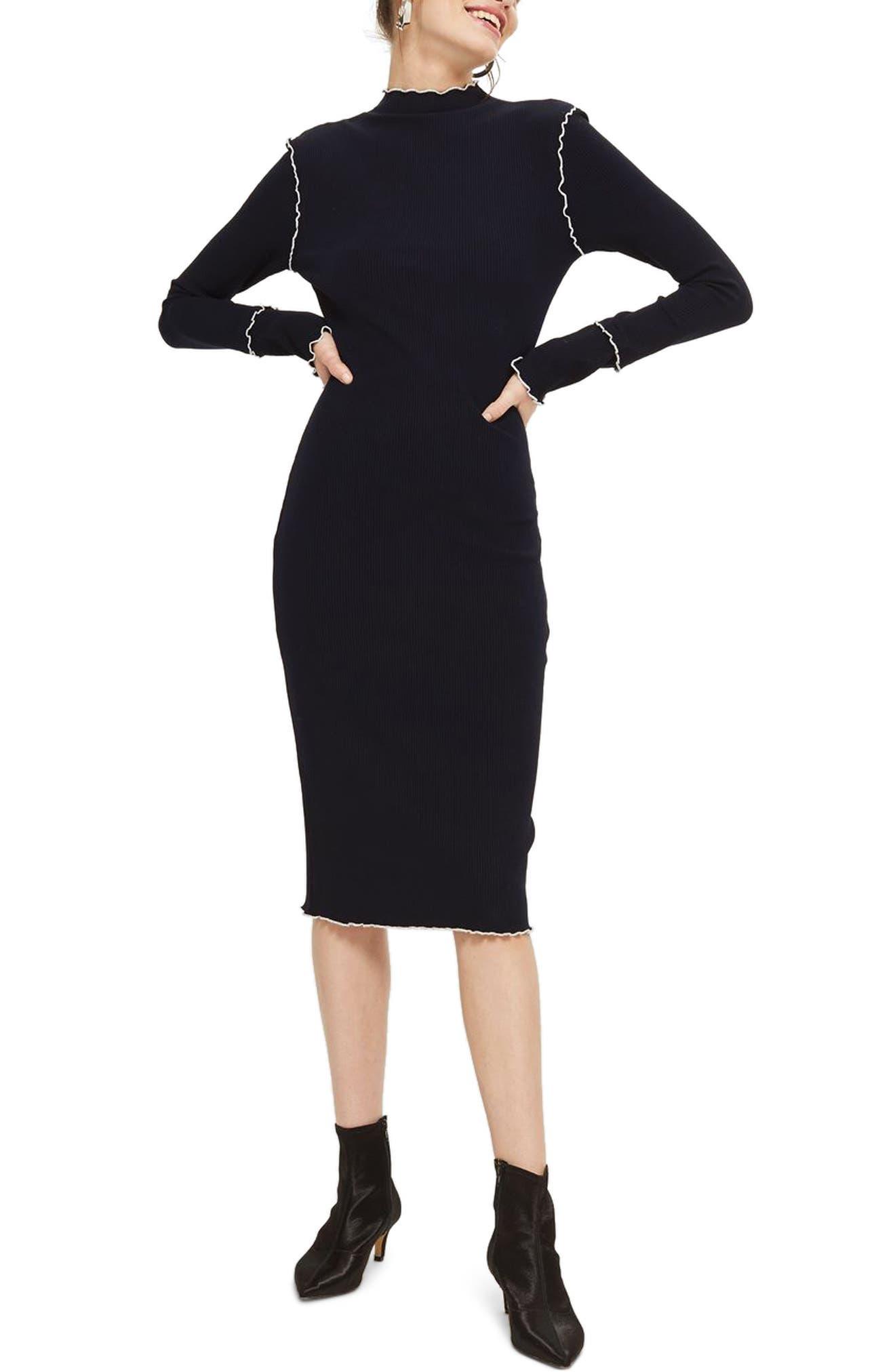 Lettuce Trim Body-Con Midi Dress,                             Main thumbnail 1, color,                             410