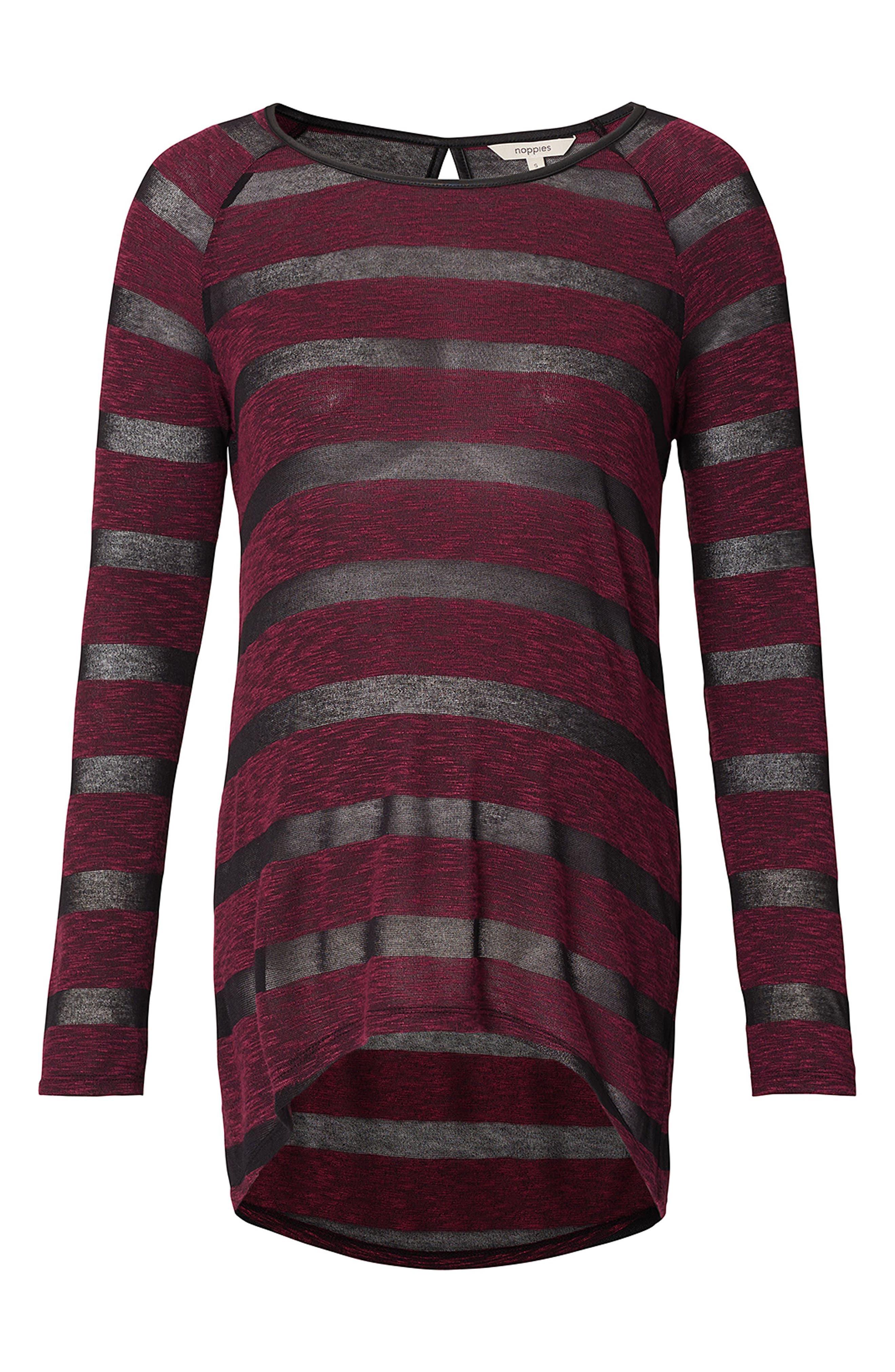 Stripe Maternity Tunic,                         Main,                         color, WINE