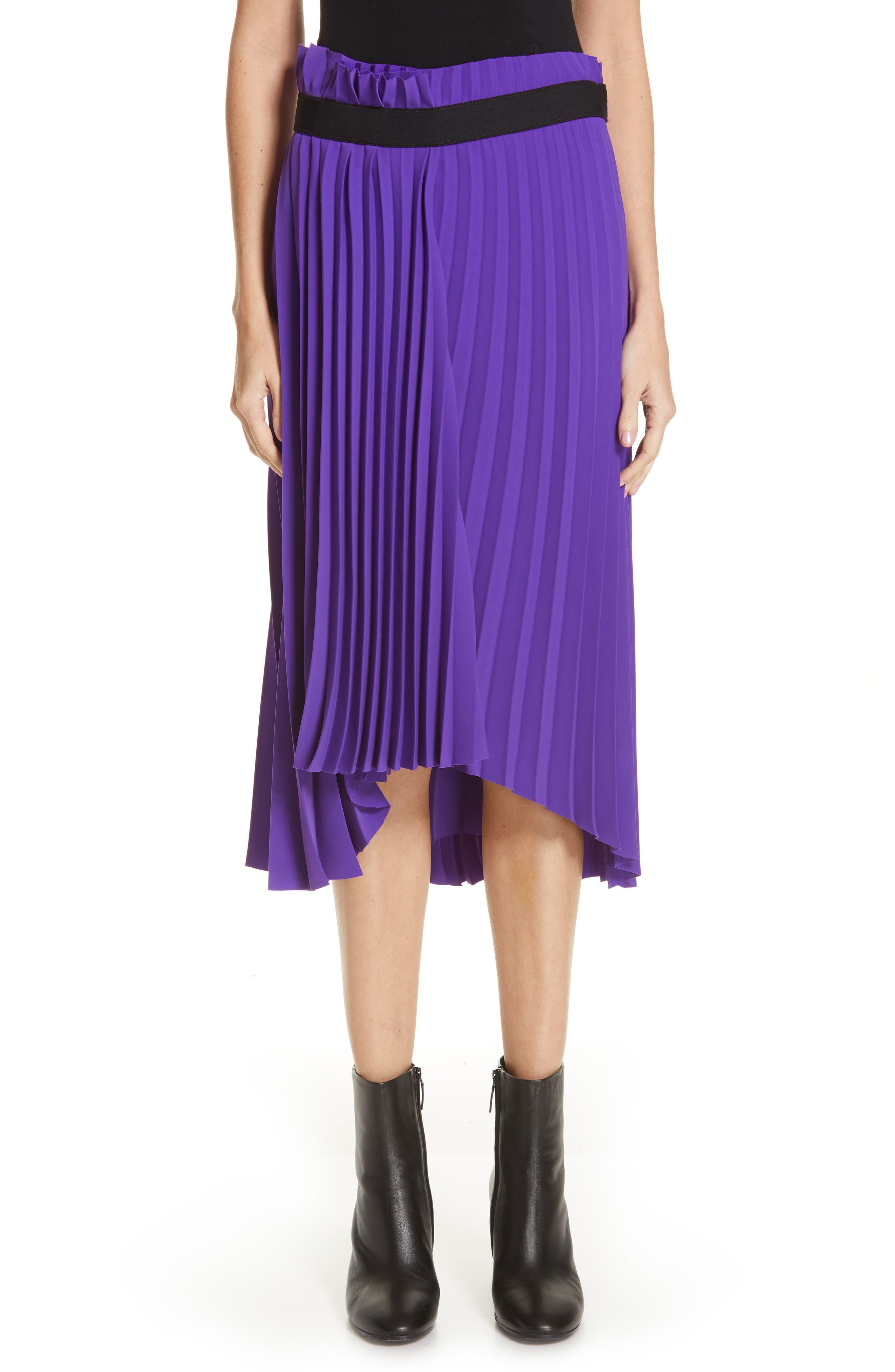 Fancy Asymmetrical Pleated Crepe Skirt,                             Main thumbnail 1, color,                             ULTRAVIOLET